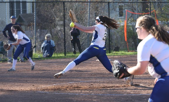 Mahopac pitcher Shannon Becker (31) pitching against  fields a ground ball against against John Jay (EF)  during softball action at Mahopac High School April 24,  2019.