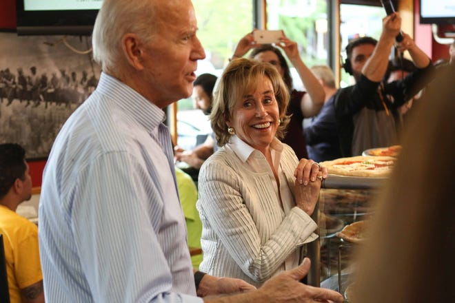 Joe Biden and his sister, Valerie Biden Owens, stop by Gianni's Pizza in Trolley Square in Wilmington on Thursday.