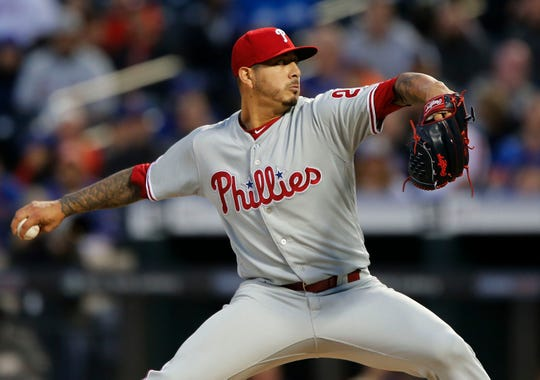 NEW YORK, NEW YORK - APRIL 24:   Vince Velasquez #21 of the Philadelphia Phillies pitches during the first inning against the New York Mets at Citi Field on April 24, 2019 in New York City.
