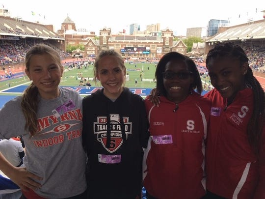 Smyrna's 4 x 800-meter relay team of  Sarah Larose, Raegan Sebastianelli, Destinee Ekanem and Kelly Barr at the Penn Relays.
