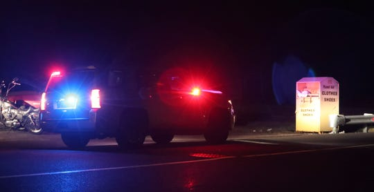 Police stand by the scene after a person was injured by an explosive device outside a Claymont auto repair shop late Wednesday evening. An explosion was reported about 10:45 pm in front of the Governor Printz Boulevard shop, one person was hospitalized.