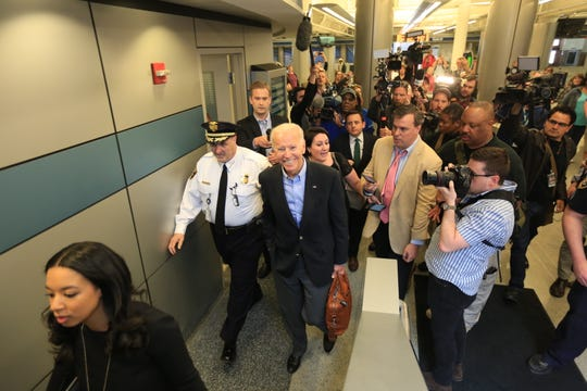 Former Vice President Joe Biden walks through the Wilmington train station on Thursday, April 25, 2019.
