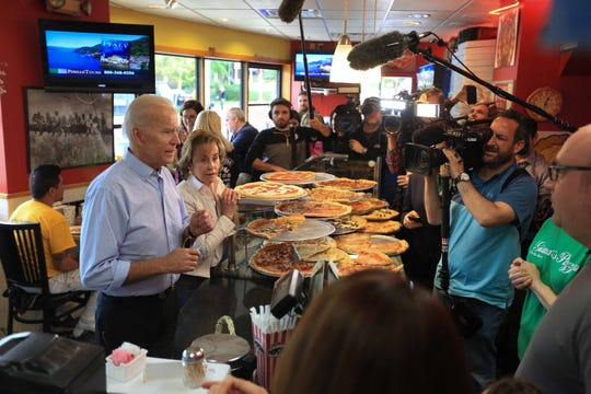 Vice President Joe Biden stopped by Gianni's Pizza in Trolley Square on Thursday morning with his sister Valerie Biden Owens while out making appearances after his early morning announcement that he will run for President in 2020.