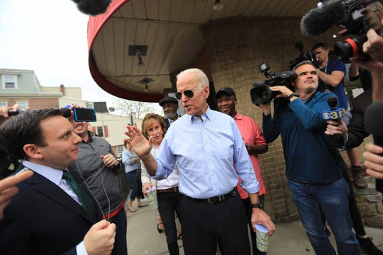 Vice President Biden addresses the media after leaving Gianni's Pizza in Trolley Square on Thursday morning after his early morning announcement that he will run for President in 2020.