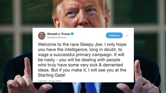 President Donald Trump took to twitter Thursday morning to welcome Joe Biden into the race for president.
