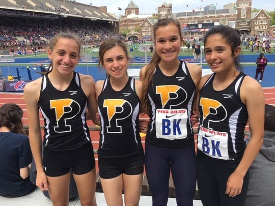 Padua's 4 x 800-meter relay team of Elena Bocchetti, Anna Cleary, Lizzy Bader and Judy McLaughlin at the Penn Relays Friday.