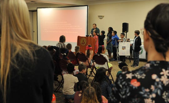 Fain Elementary parents watched as their students showed their EURECA presentations to fellow students and teachers Thursday morning at Midwestern State University.