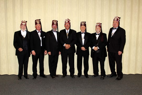 At a recent meeting, the Maskat Shrine installed new officers for the upcoming year. Pictured, left to right: John Tunnell PP, recorder; Dooby Fox, High Priest and Prophet; Kenny Lemons, Assistant Rabban; Steve Harris, Potentate; Bing Miller, Chief Rabban; Greg Talley, Oriental Guide; and Greg Stockton PP, treasurer.