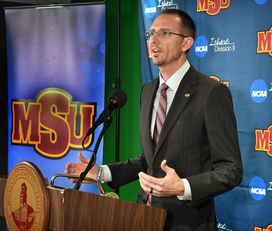 Justin Leslie was introduced Thursday morning as the new head coach of the Midwestern State University mens basketball program.