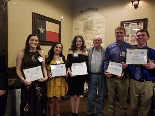 The Sunrise Optimist Club had nine students qualify for the State finals of the Young Texan / Tex-Anne program. Pictured: Macie Frederick, Isabella Garcia, Henrietta High School, Annie Scales, Wichita Falls High School, Andy Stanford, Sunrise Optimist Club, Clay Streeter and Holt Chambers, Henrietta High School. Not in the photo; Andras Horvath, Wichita Falls High School, Daniel Wimberley and Haleigh Hogan, Henrietta High School, and Caleb Daniel Burkburnett High School.