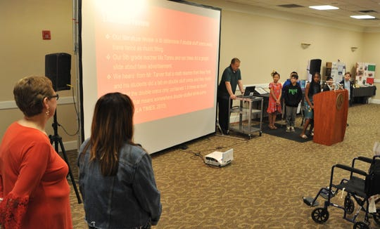 Students from Fain Elementary used powerpoint to present their EURECA, enhancing Undergraduate Research and Creative Activities at Midwestern State University, Thursday morning.