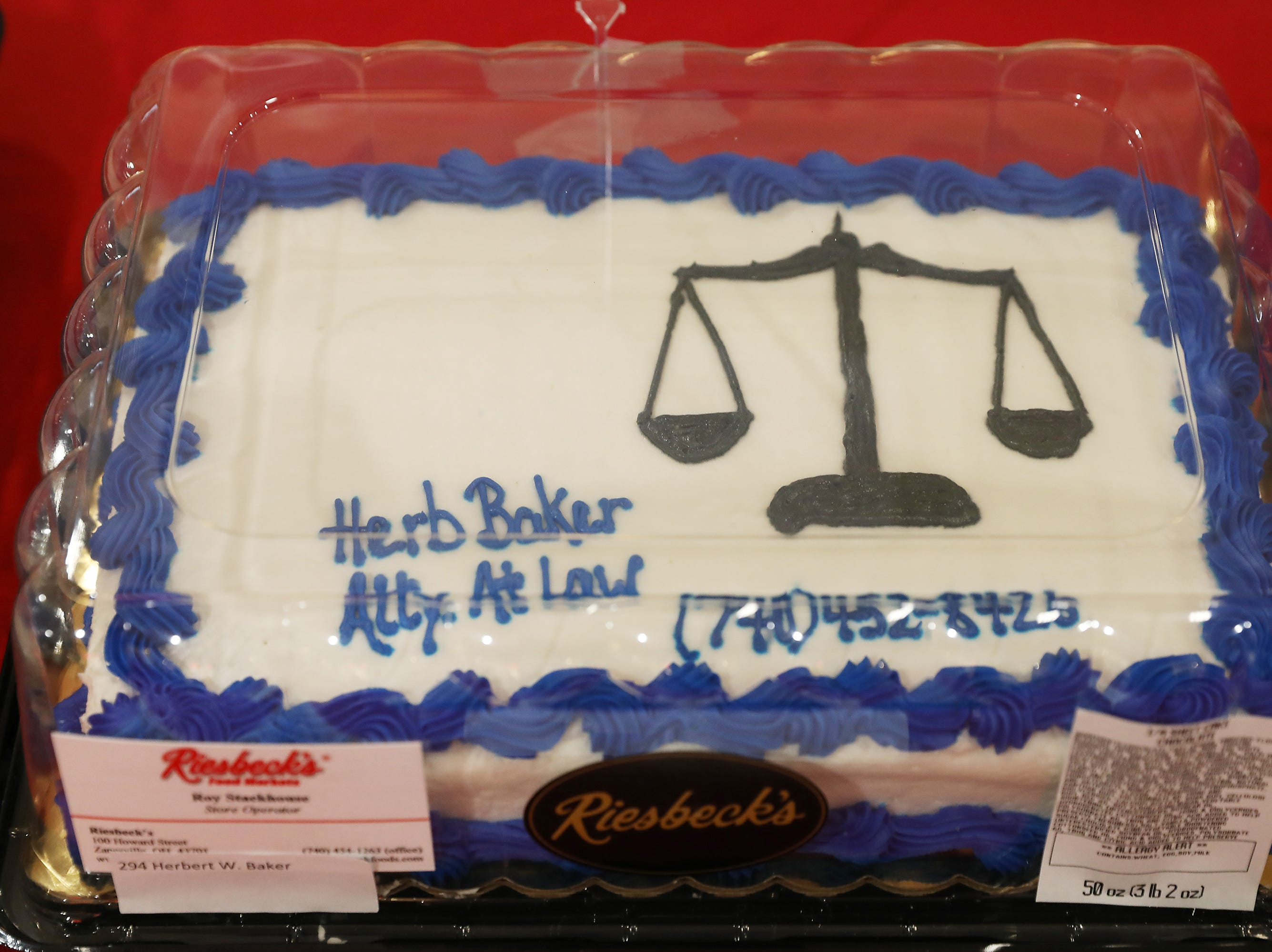 11:45 A.M. Friday cake 294 Herbert W. Baker - $100 Fringe gift card