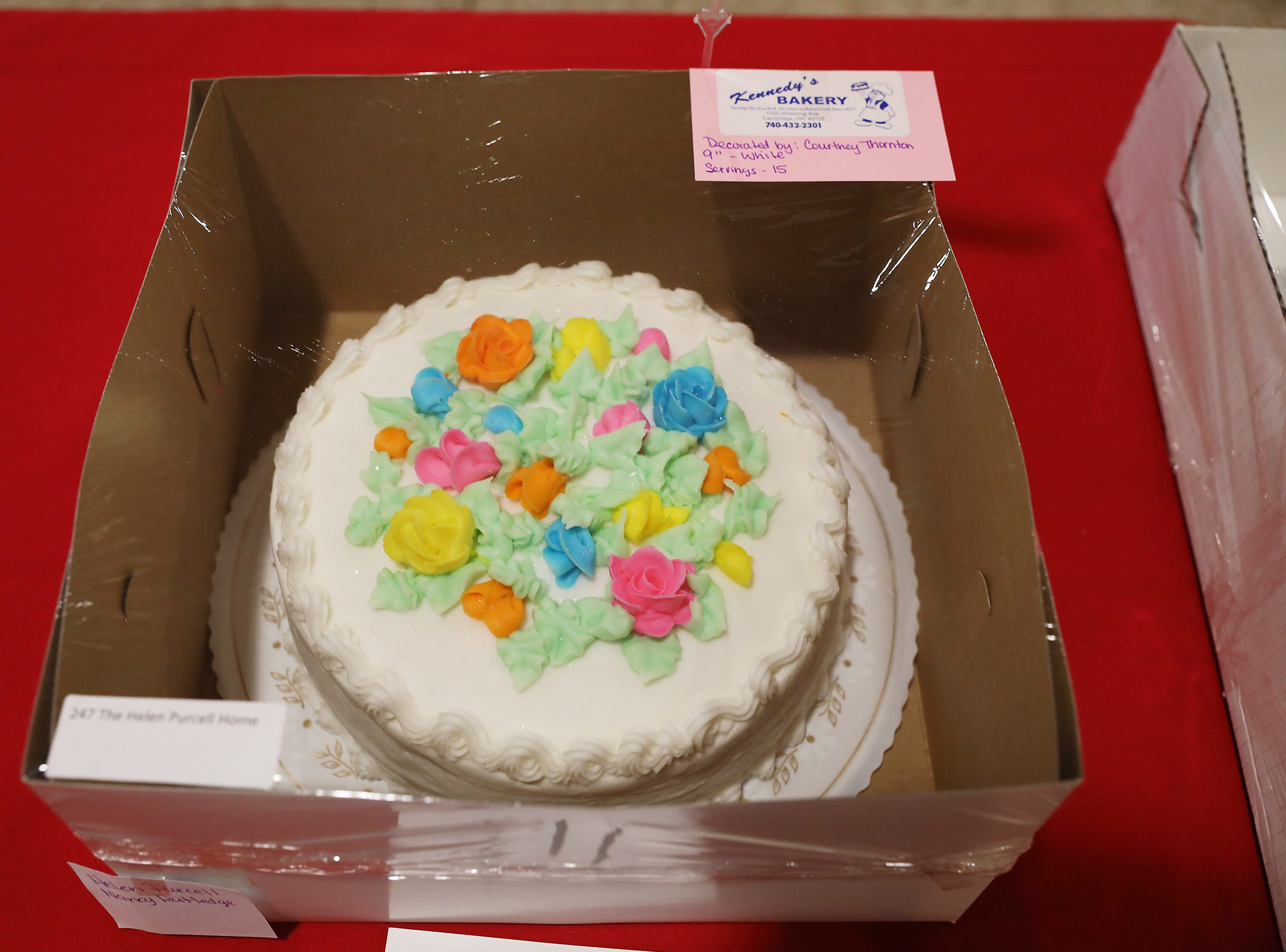 9:45 A.M. Friday cake 247 The Helen Purcell Home - catered event at Helen Purcell; $300