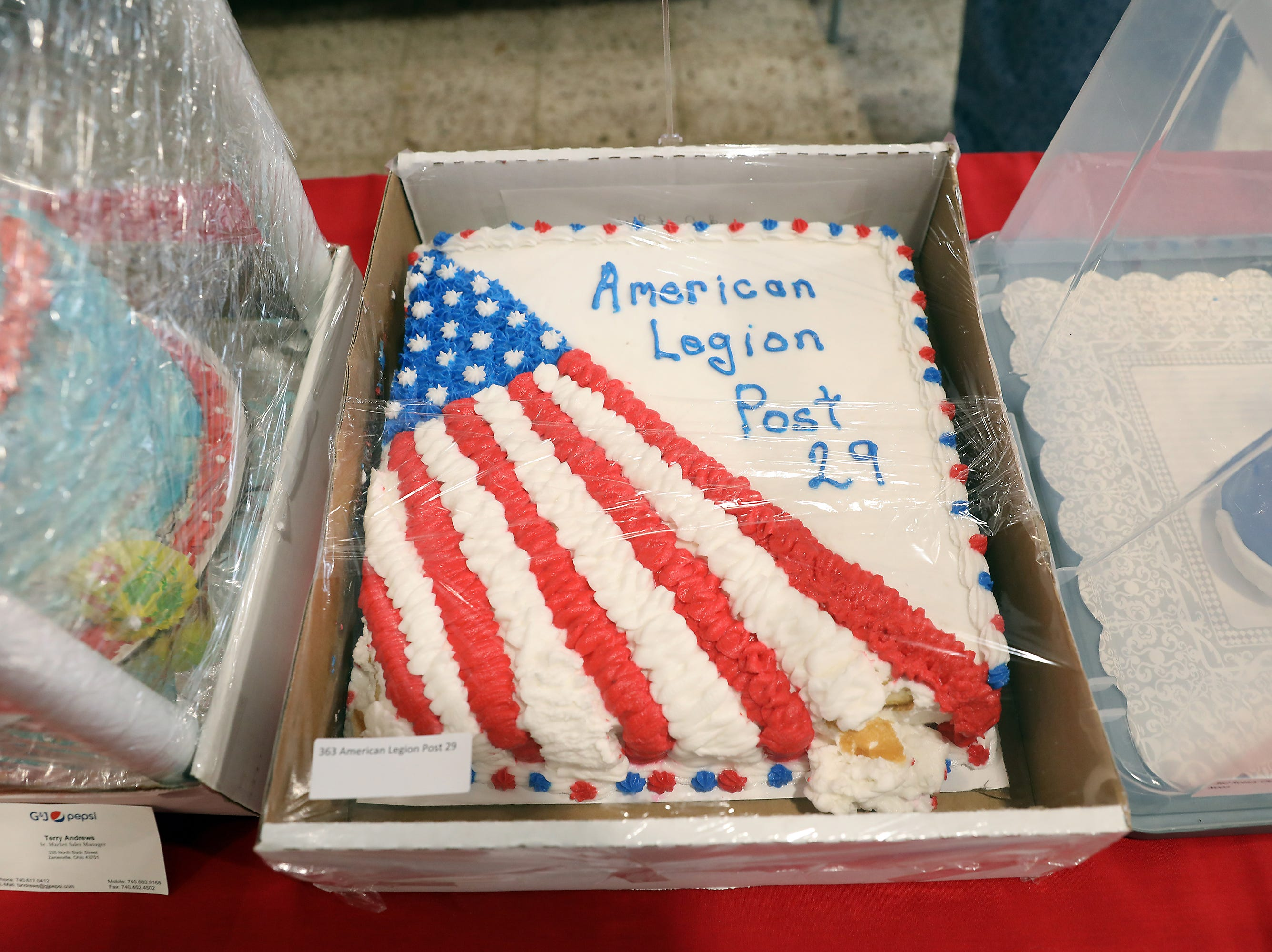 3:30 P.M. Friday cake 363 American Legion Post 29 - 4x6 flag, $250 gift cards to Kroger and Walmart