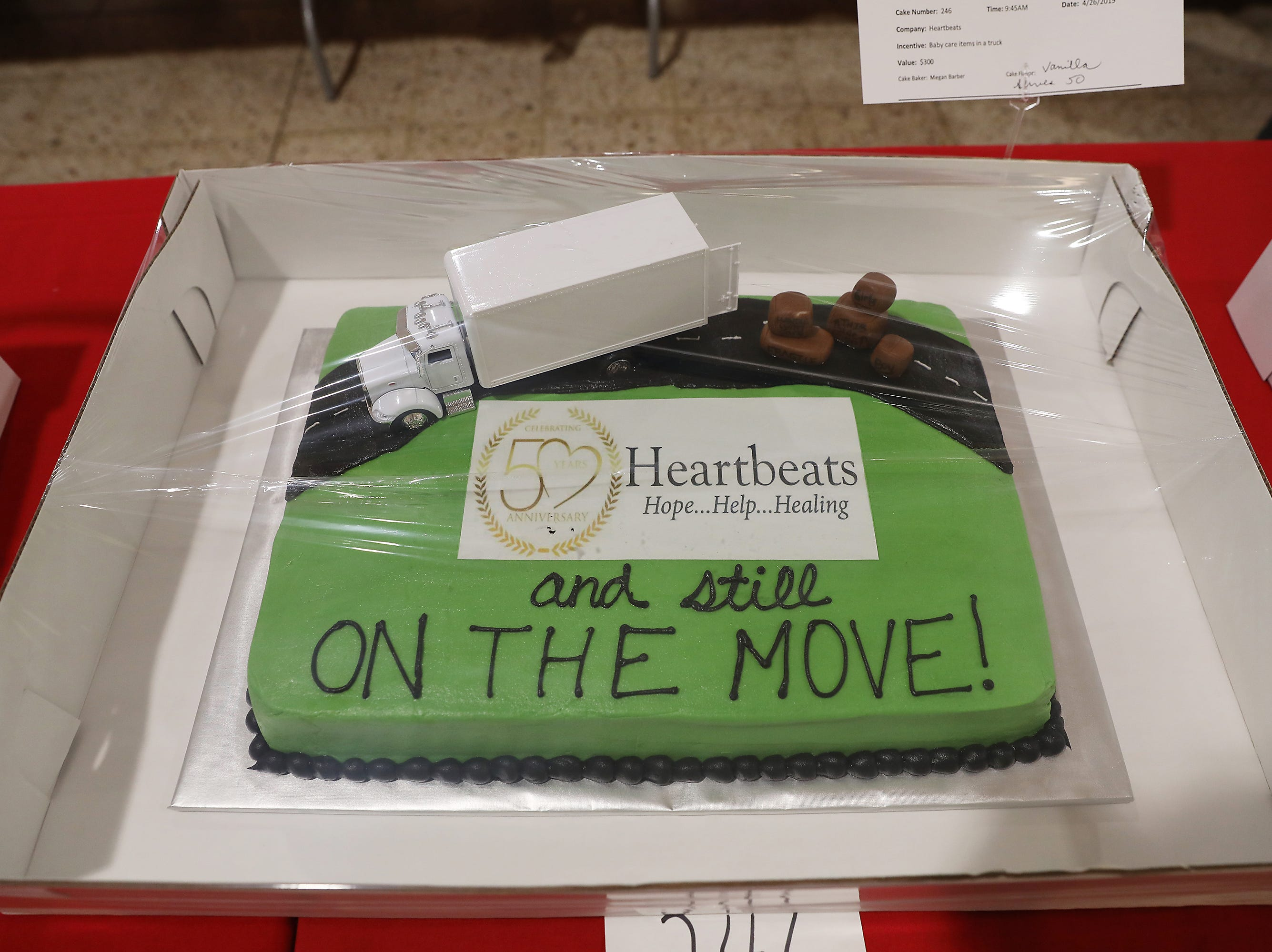 9:45 A.M. Friday cake 246 Heartbeats - baby care items in a truck; $300