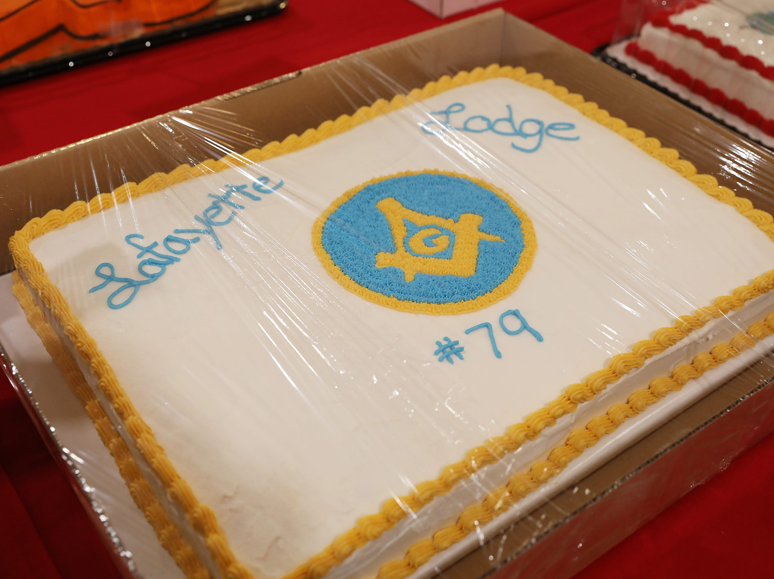 11:45 A.M. Friday cake 292 La Fayette Lodge #79 Free and Accepted Masons - $300 gift card to Schroder Chiropracti, 1 day rental of Masonic Temple dining hall, $250 to a local charity in your name; $650