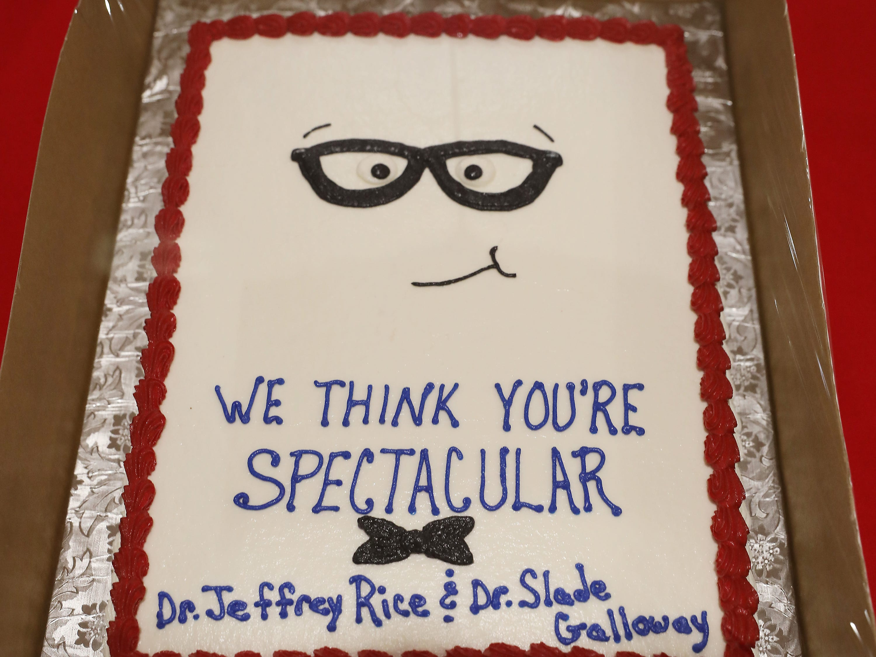 9:45 A.M. Friday cake 248 Vision Source Dr. Rice & Dr. Galloway - eye exam, imaging, optomap imaging, $150 for materials; $295