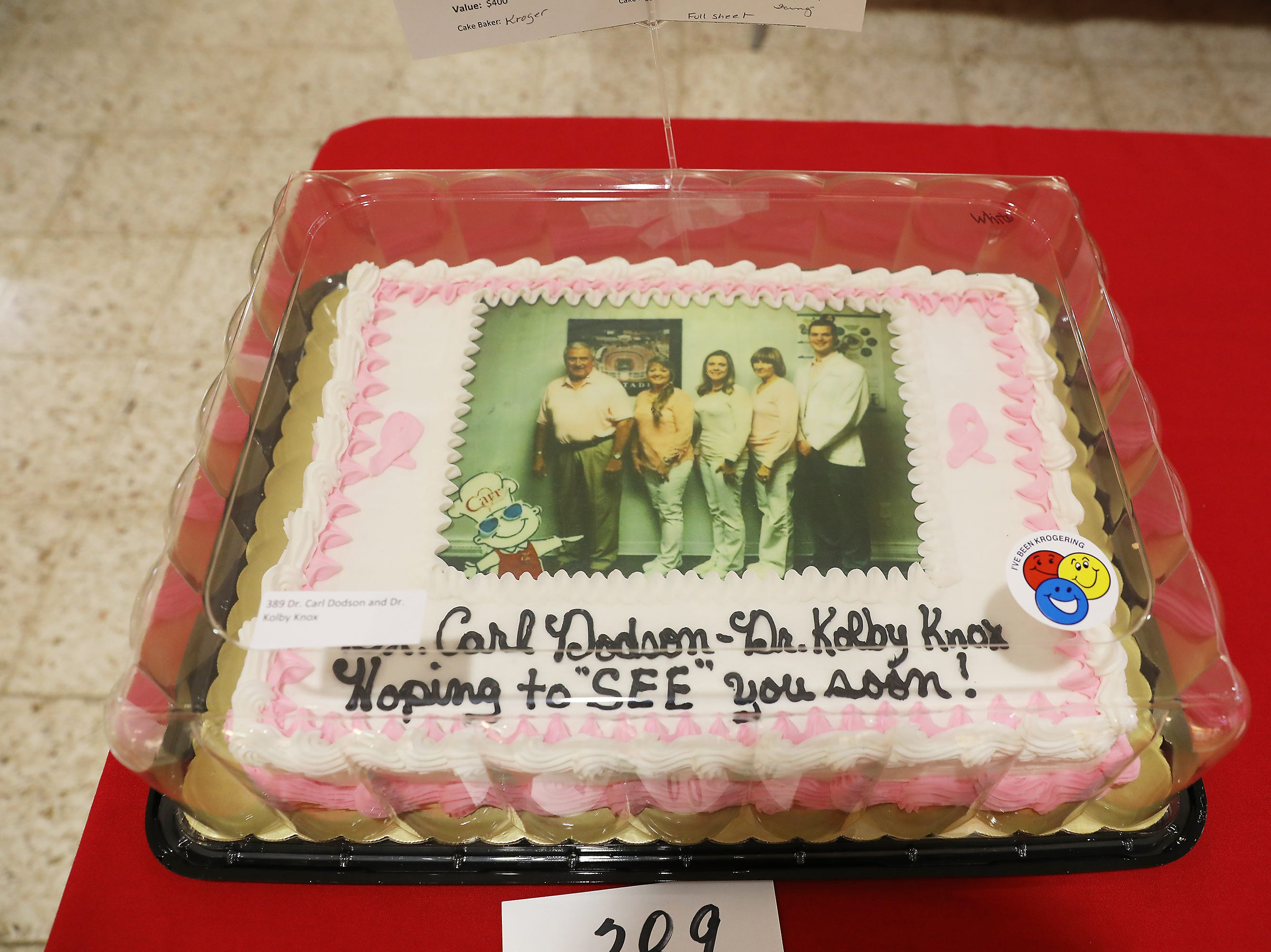 4:45 P.M. Friday cake 389 Dr. Carl Dodson and Dr. Kolby Knox - eye exam, Retinal imaging, $250 for merchandise; $400