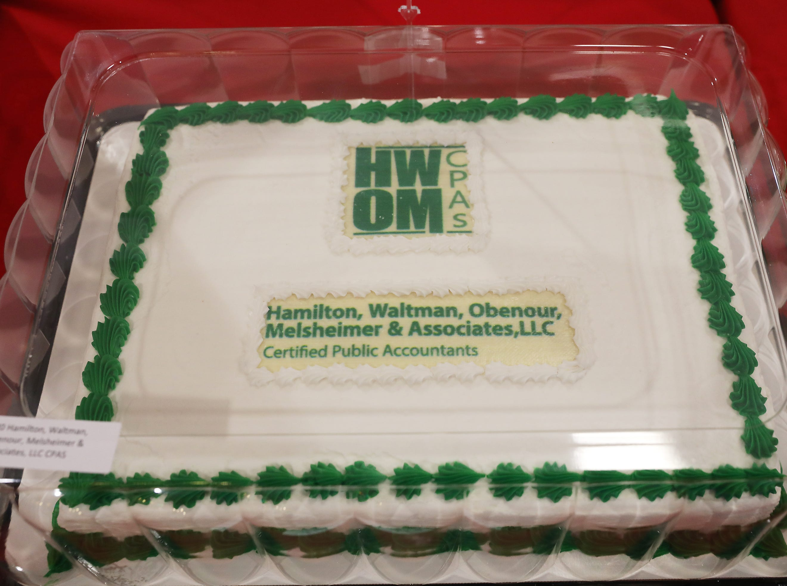 2:00 P.M. Thursday cake 120 Hamilton, Waltman, Obenour, Melsheimer & Associates - $40 gift cards to Adornetto's, Urban Comforts, Winerak, Hot Head's, Terry's Tavern & Subway