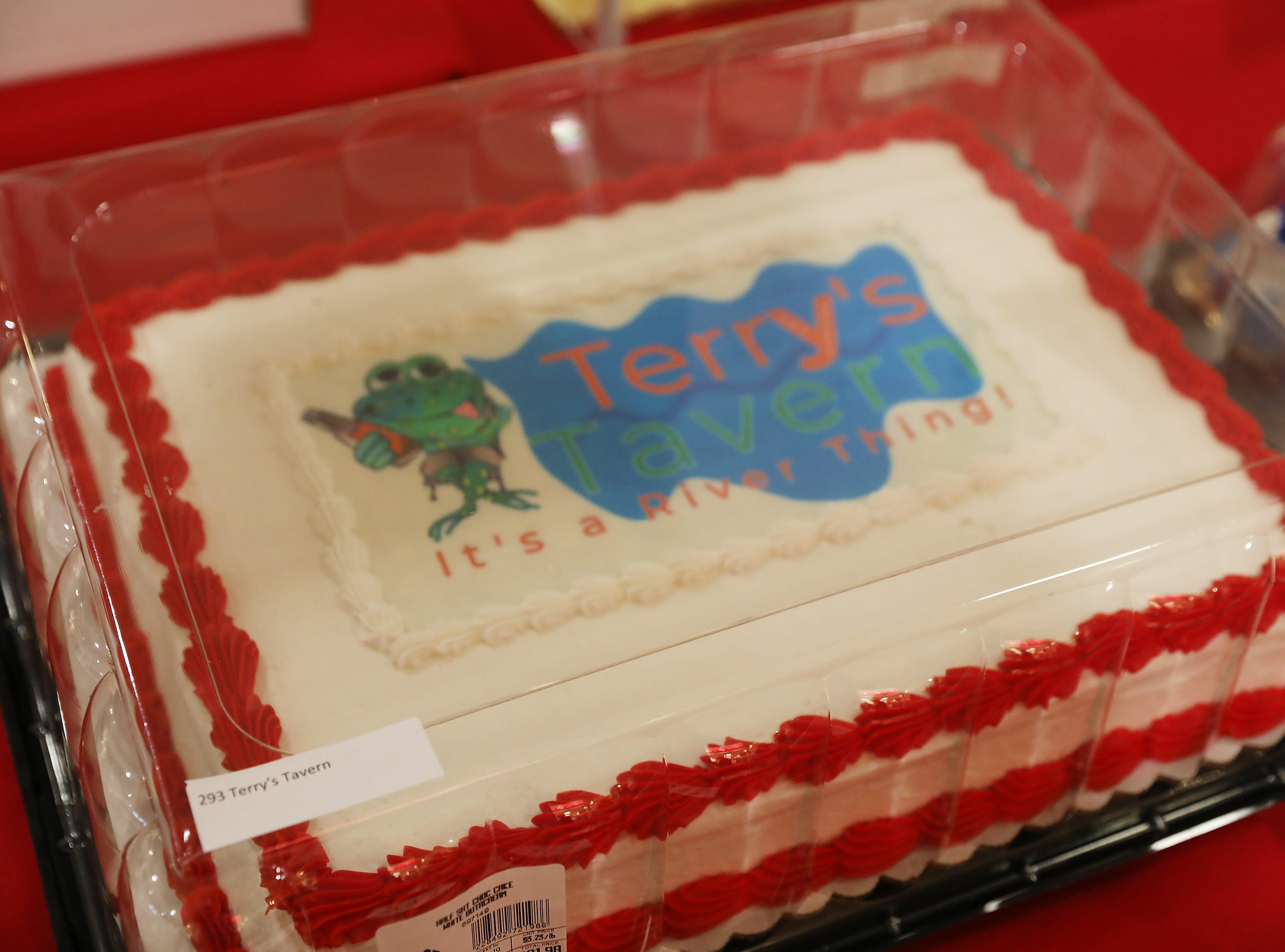 11:45 A.M. Friday cake 293 Terry's Tavern - soup, sandwich,beverage for two, one per month for one year; $300