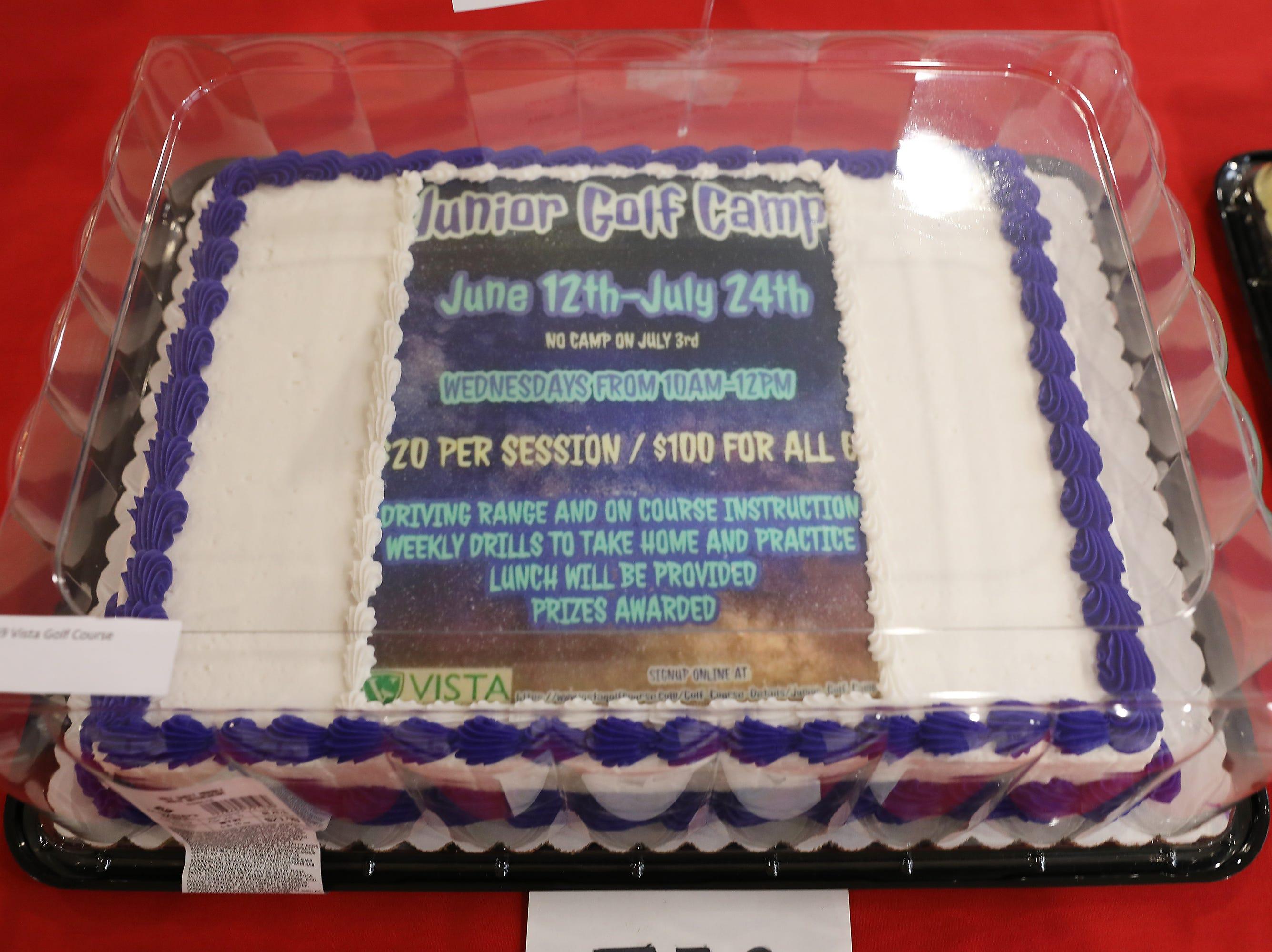 3:30 P.M. Friday cake 359 Vista Golf Course - $100 Vista gift card, 2019 Junior Membership, two 1-hour junior golf lessons, goft basket; $400