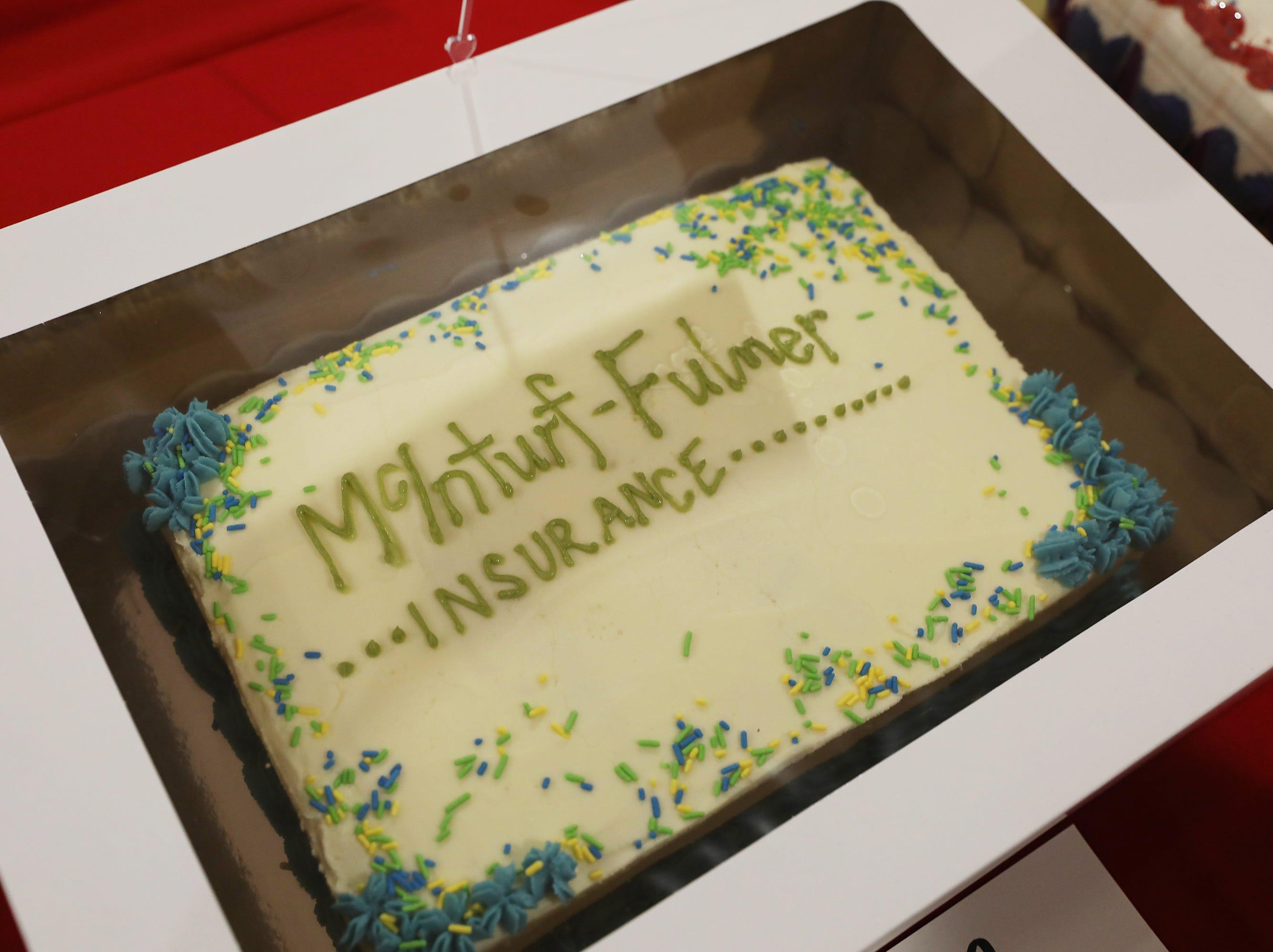 1:45 P.M. Thursday cake 112 McInturf Fulmer Insurance Group - Matz Fitness app, $50 gift cards to Olde Falls Inn and Donald's Donuts