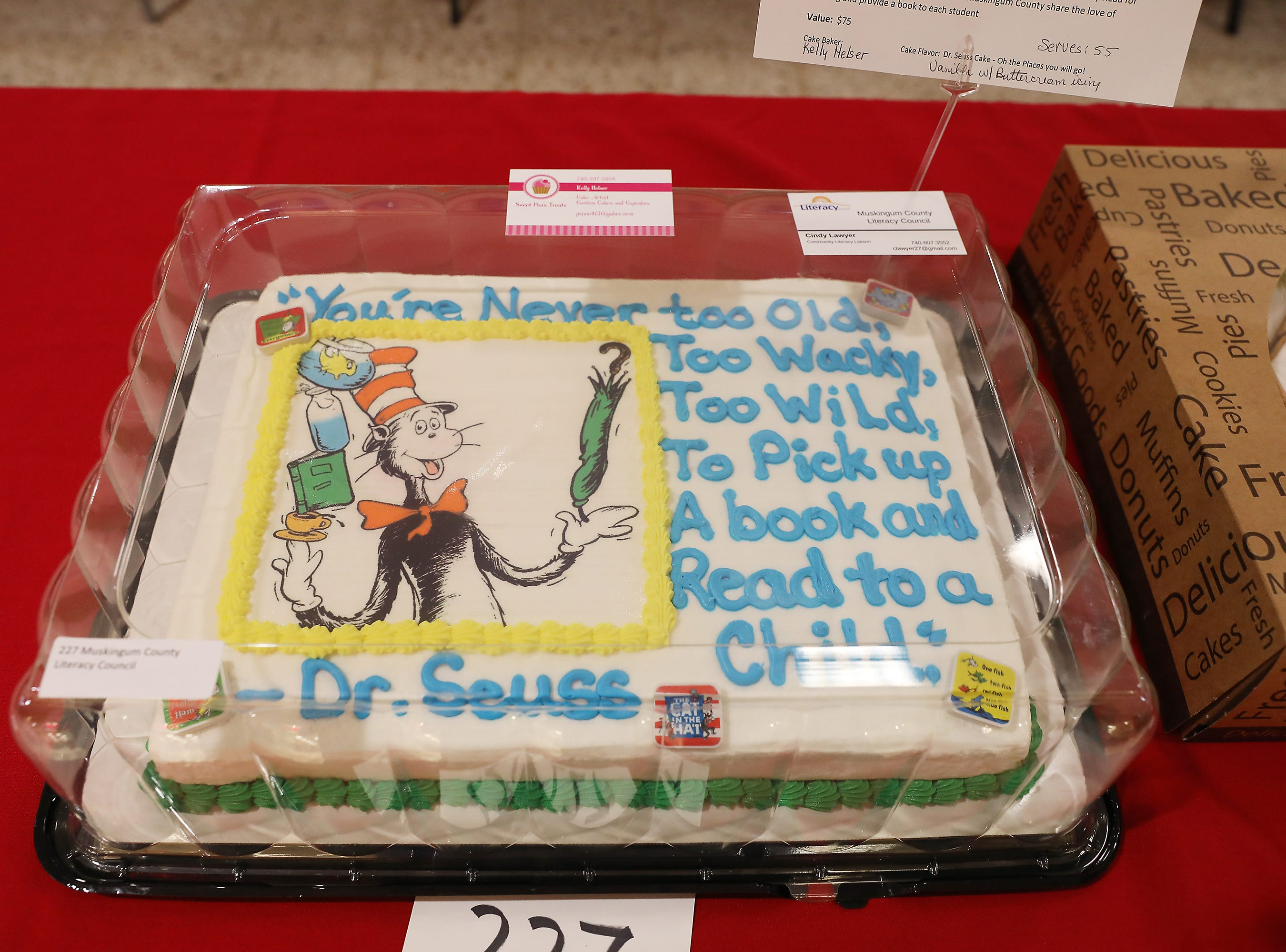 9 A.M. Friday cake 227 Muskingum County Literacy Council - children's books, Bard the Bunny read; $75