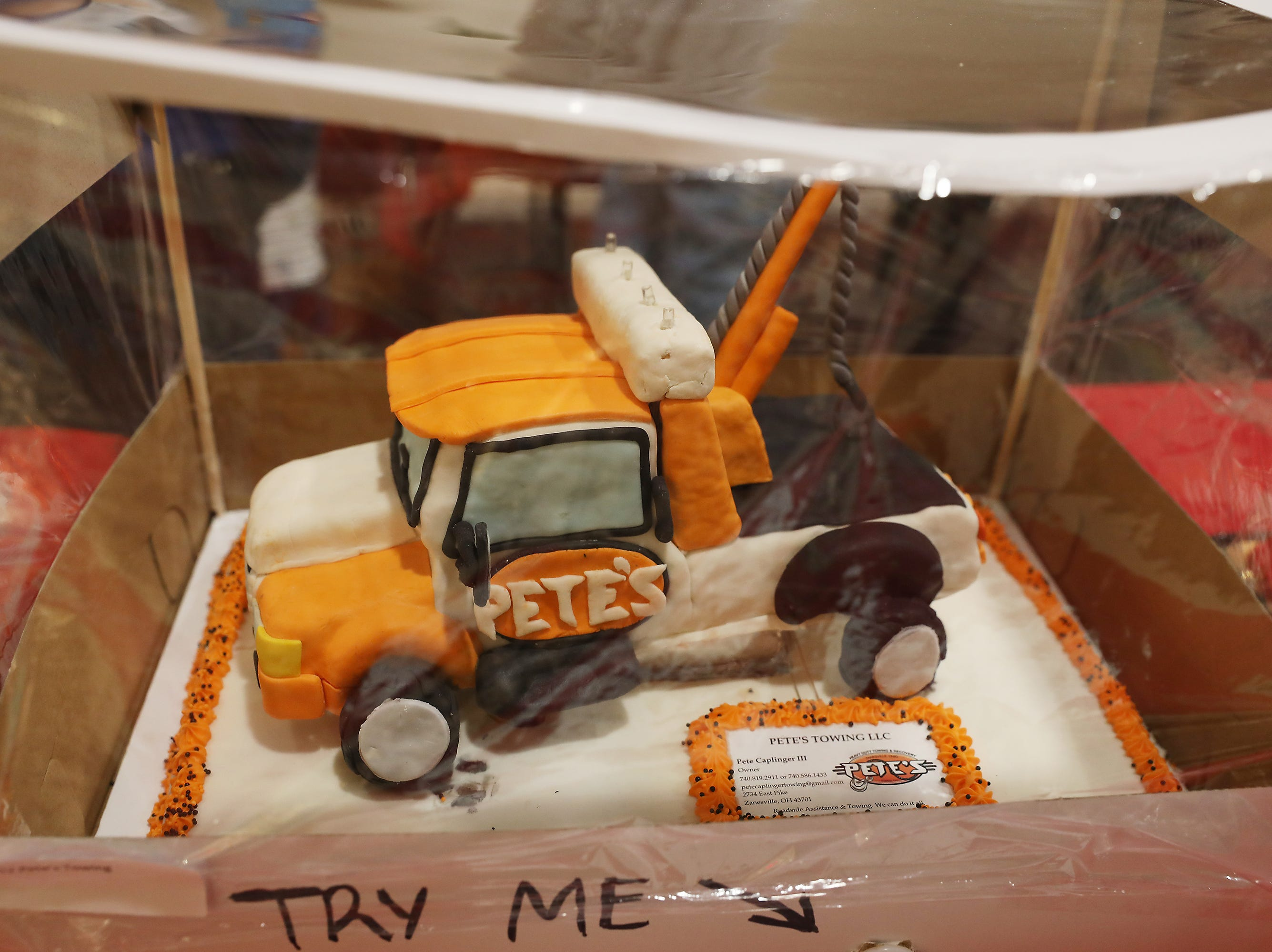 8:15 A.M. Friday cake 212 Pete's Towing - Oil change, in town tow; $124