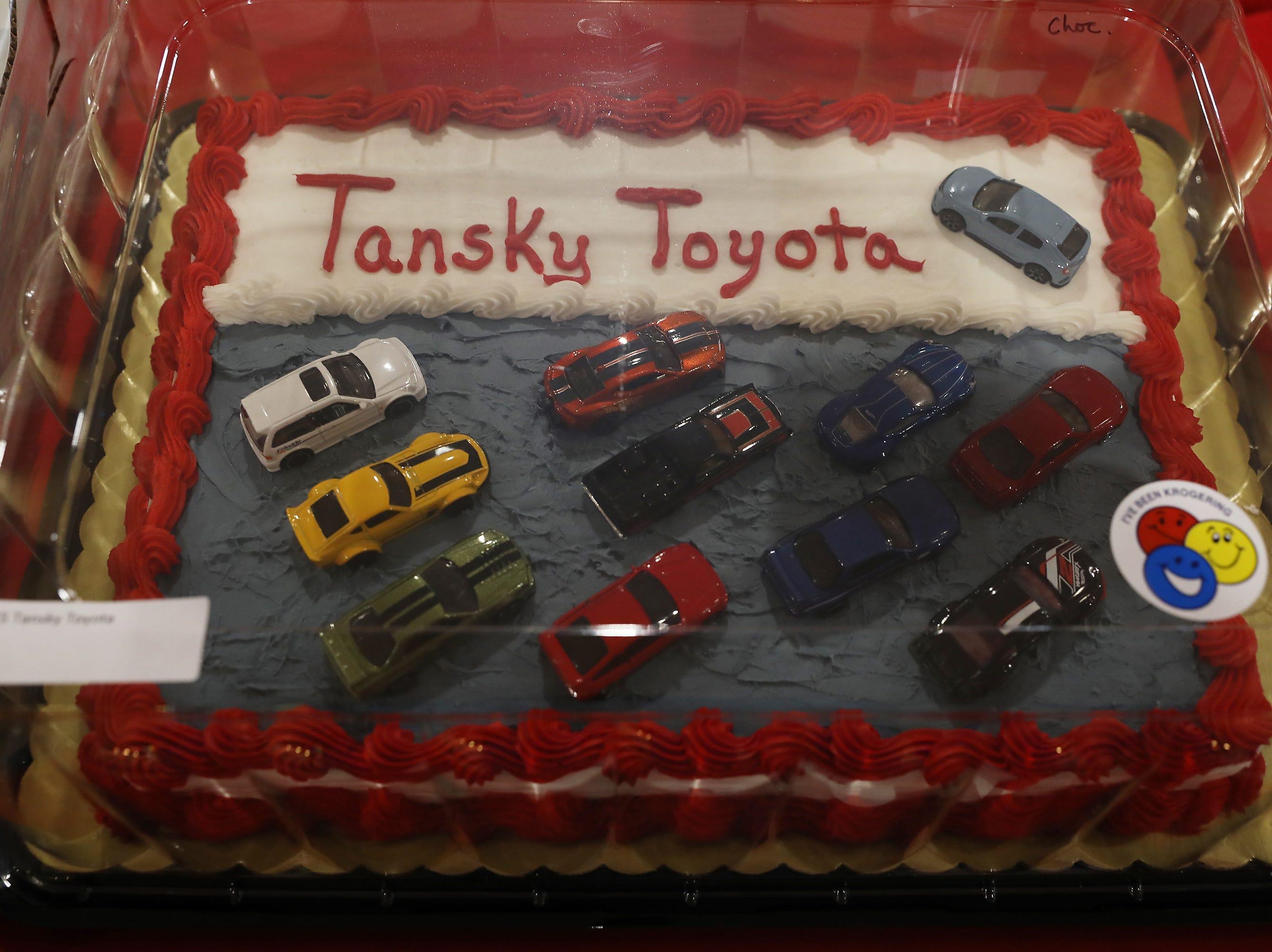 1:45 P.M. Thursday cake 115 Tansky Toyota - $100 to local restaurants