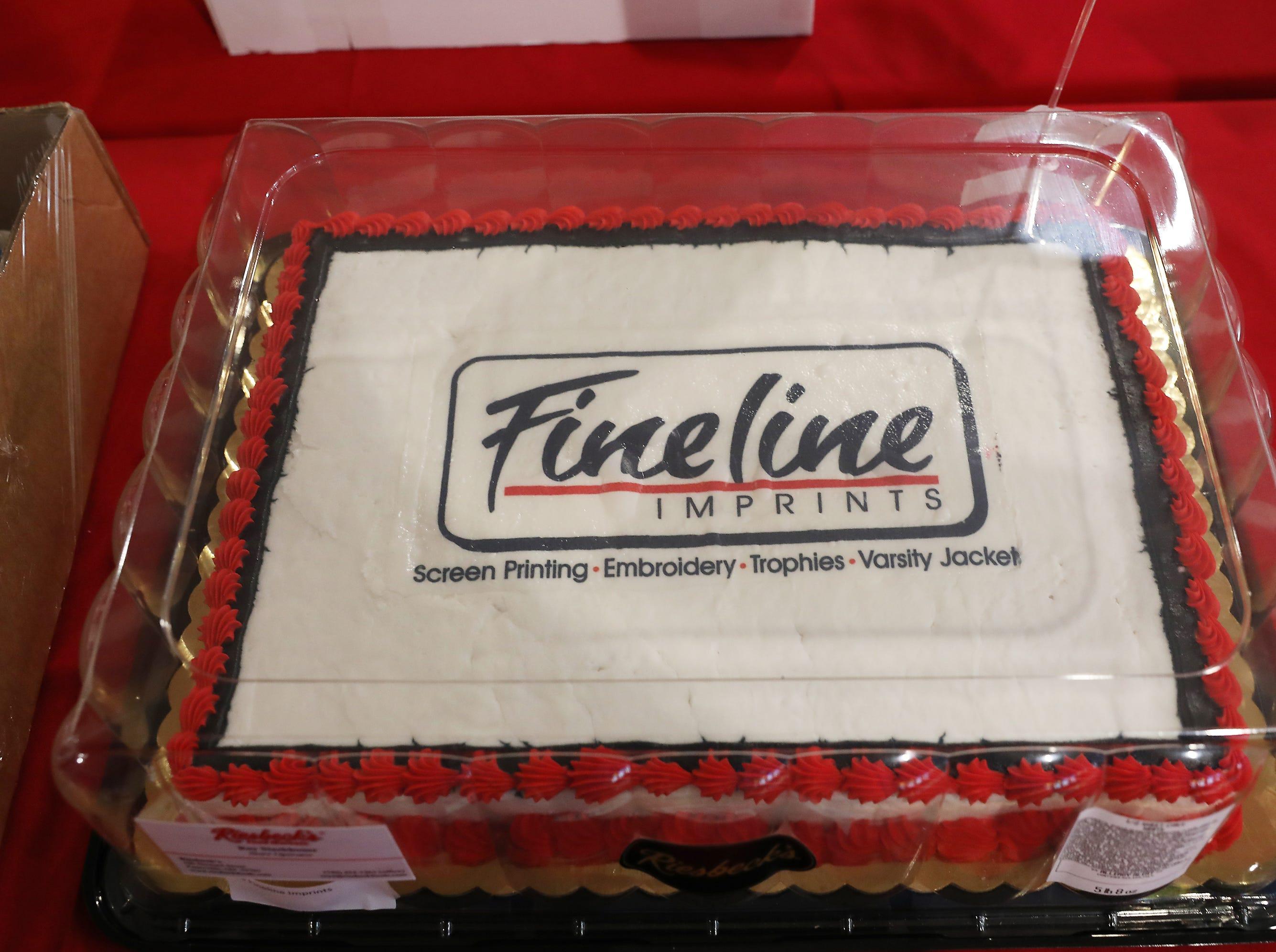 2:45 P.M. Thursday cake 138 Fineline Imprints - 25 white T-shirts, imprinted 1 color, 1 location; $200