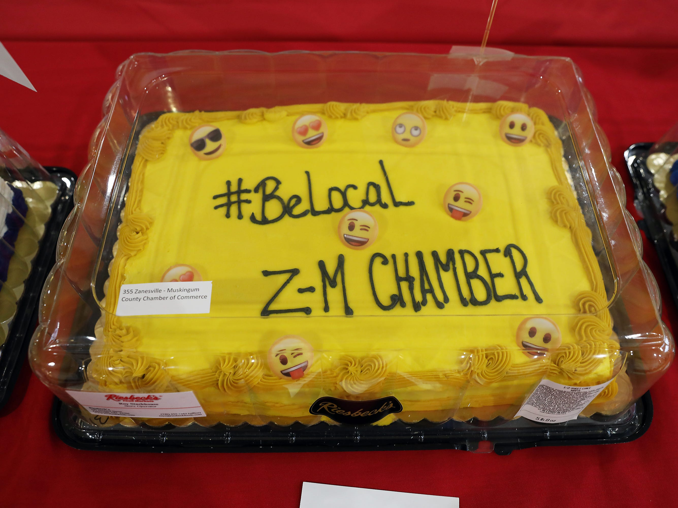 3:15 P.M. Friday cake 355 Zanesville - Muskingum County Chamber of Commerce - 25 #BeLocal post cards,  Visit Zanesville T-shirt and hat, Lorena ride for 2, admission for 2 to Zanesville Museum of Art, $10 gift cards to Adonetto's, Creno's, Donato's, Maxwell's, Olive Garden, Picnic Pizza, Roosters, Russo's Wood Fired, The Barn and Weasel Boy Brewing