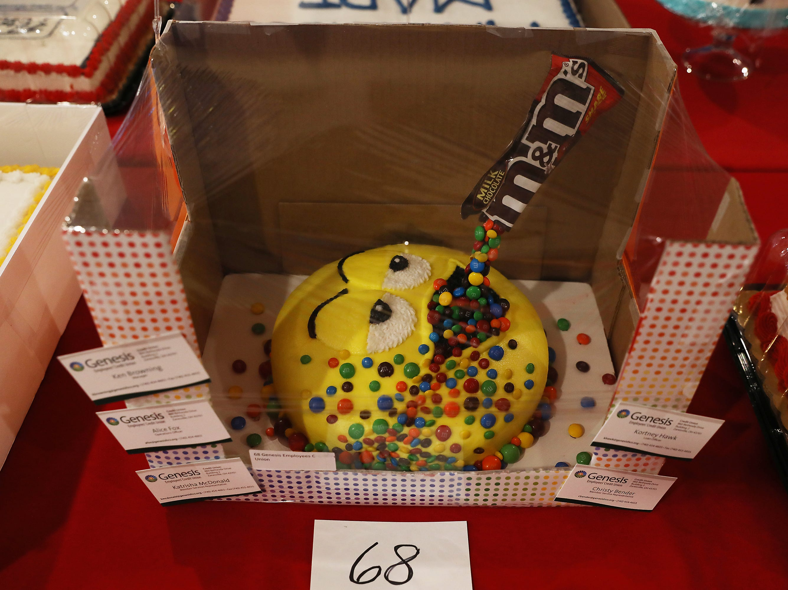 11 A.M. Thursday cake 68 Genesis Employees Credit Union - $30 Walmart gift card, M&M's; $100
