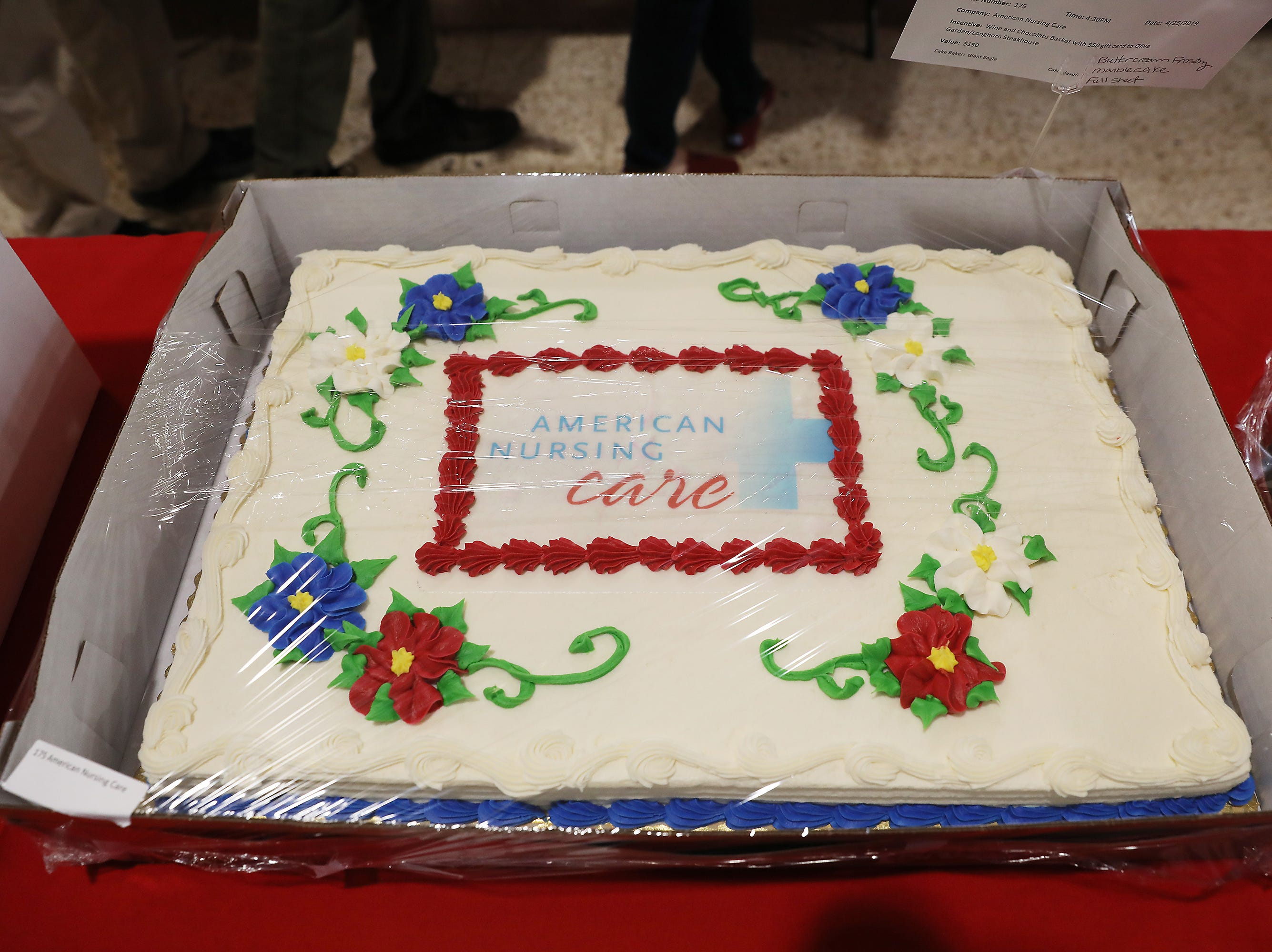 4:30 P.M. Thursday cake 175 American Nursing Care - wine/chocolate Basket, $50 Olive Garden/Longhorn Steakhouse gift card; $150
