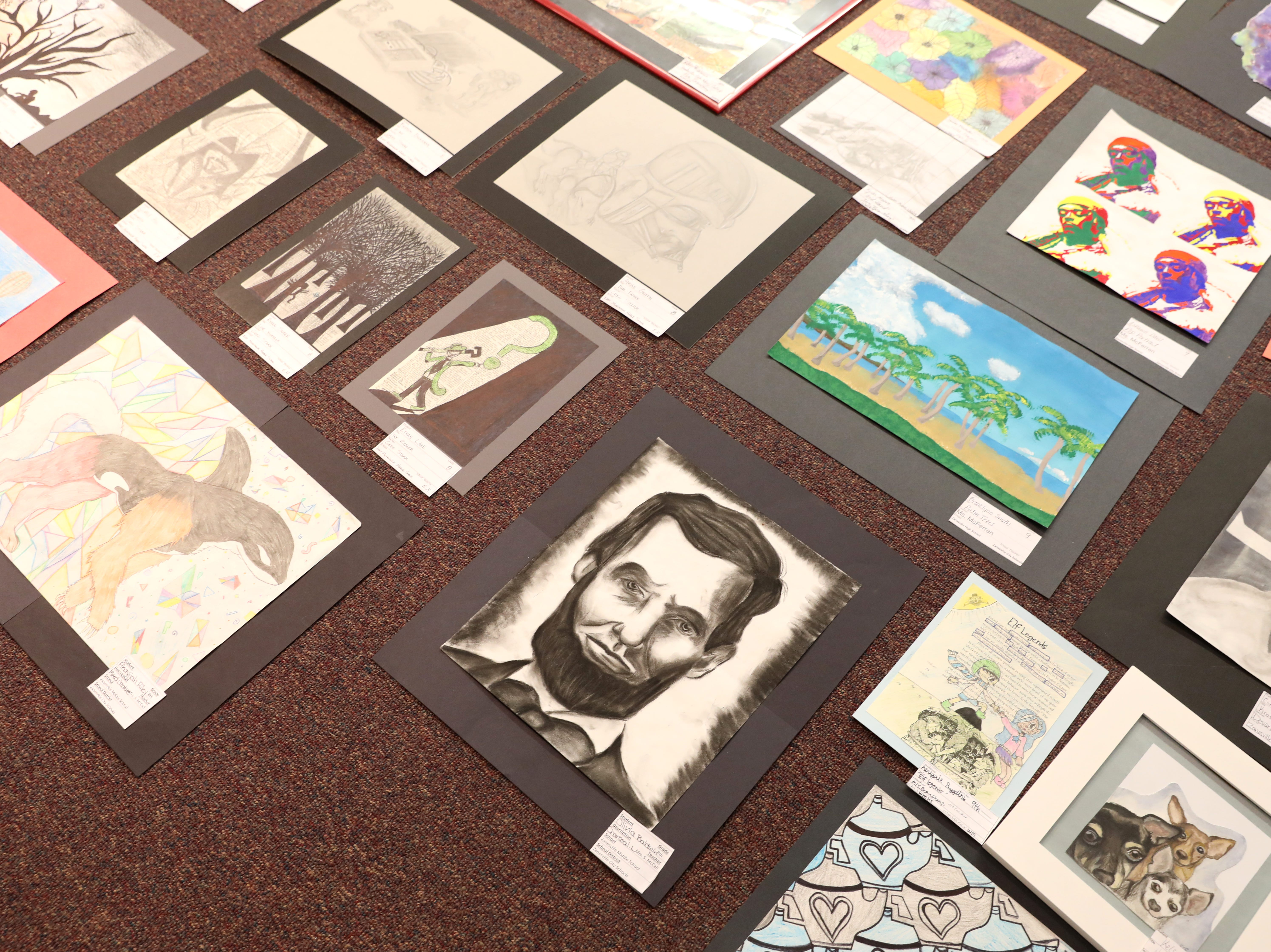 Art waits to be hung for the Muskingum County K-12 Student Art Exhibition at the Zanesville Museum of Art.