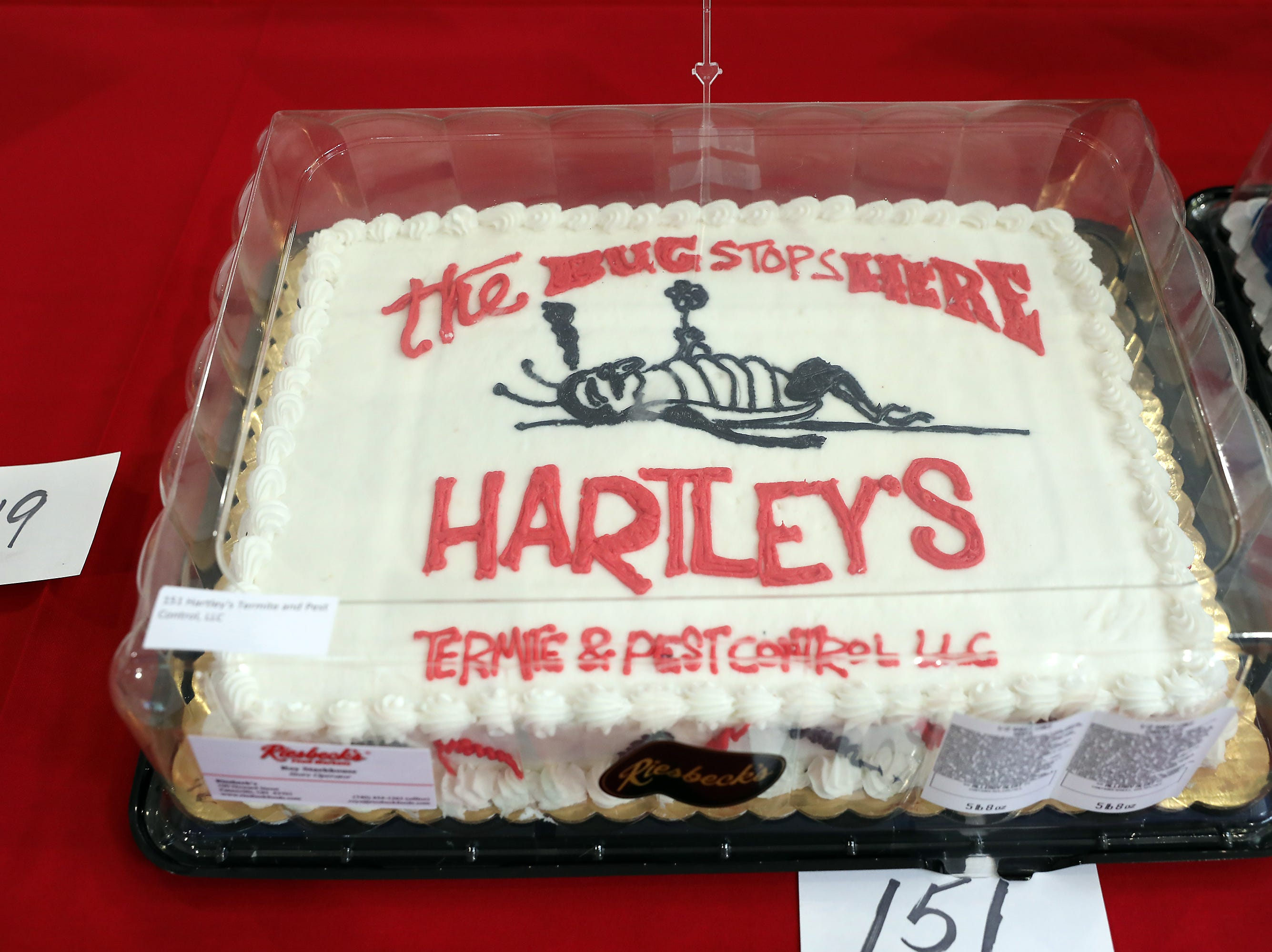 3:30 P.M. Thursday cake 151 Hartley's Termite and Pest Control - $100 for services