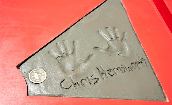 View of Chris Hemsworth's handprints are seen during the Marvel Studios' 'Avengers: Endgame' hand print cement ceremony at TCL Chinese Theatre IMAX Forecourt on April 23, 2019, in Hollywood, California.