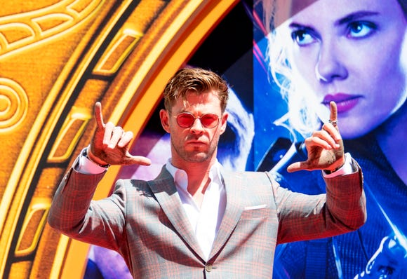 Actor Chris Hemsworth attends the Marvel Studios' 'Avengers: Endgame' hand print ceremony at TCL Chinese Theatre IMAX Forecourt on April 23, 2019, in Hollywood, California.