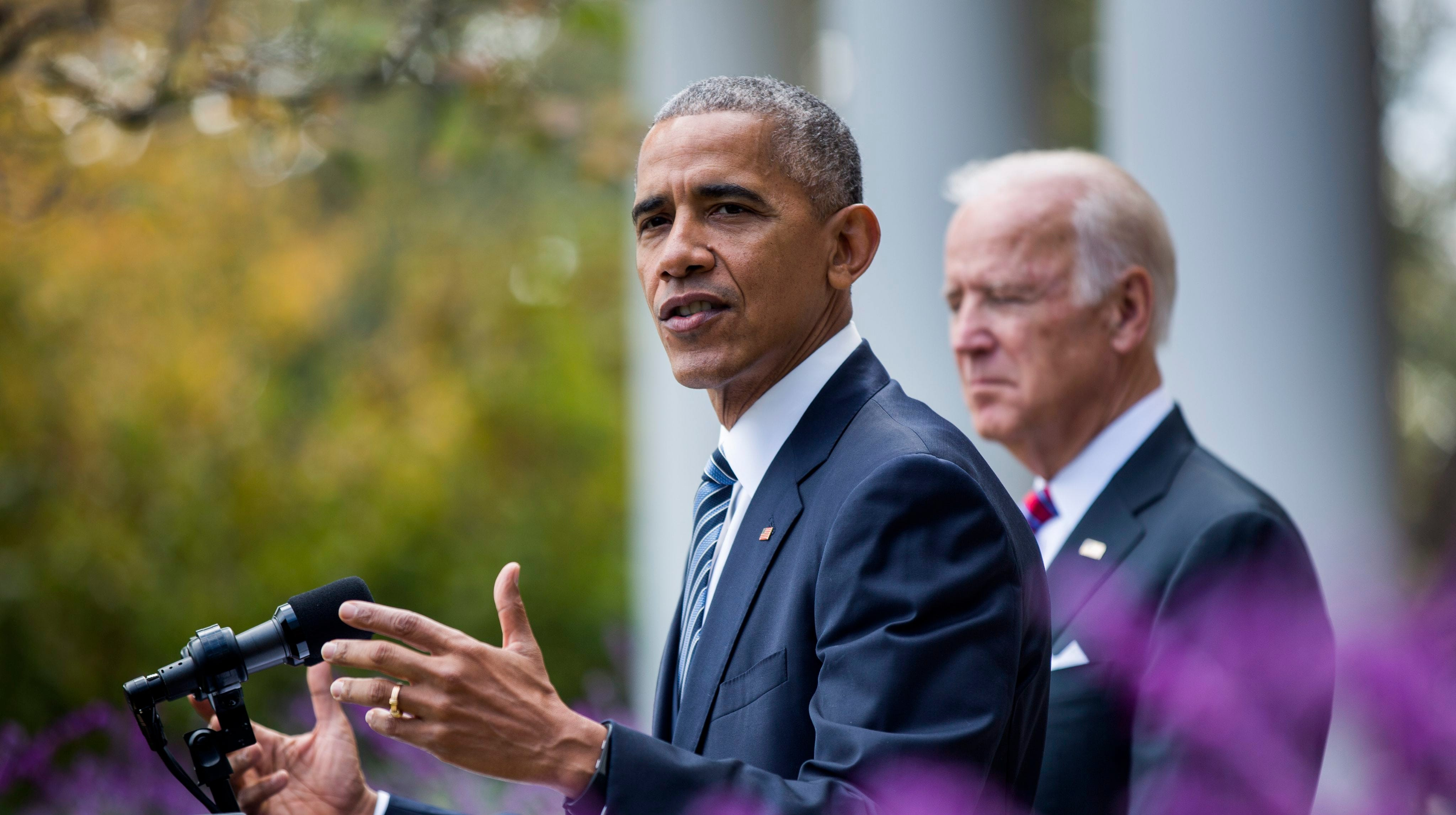 Then-President Barack Obama with his then-Vice President Joe Biden in the Rose Garden of the White House the day after the 2016 presidential election.