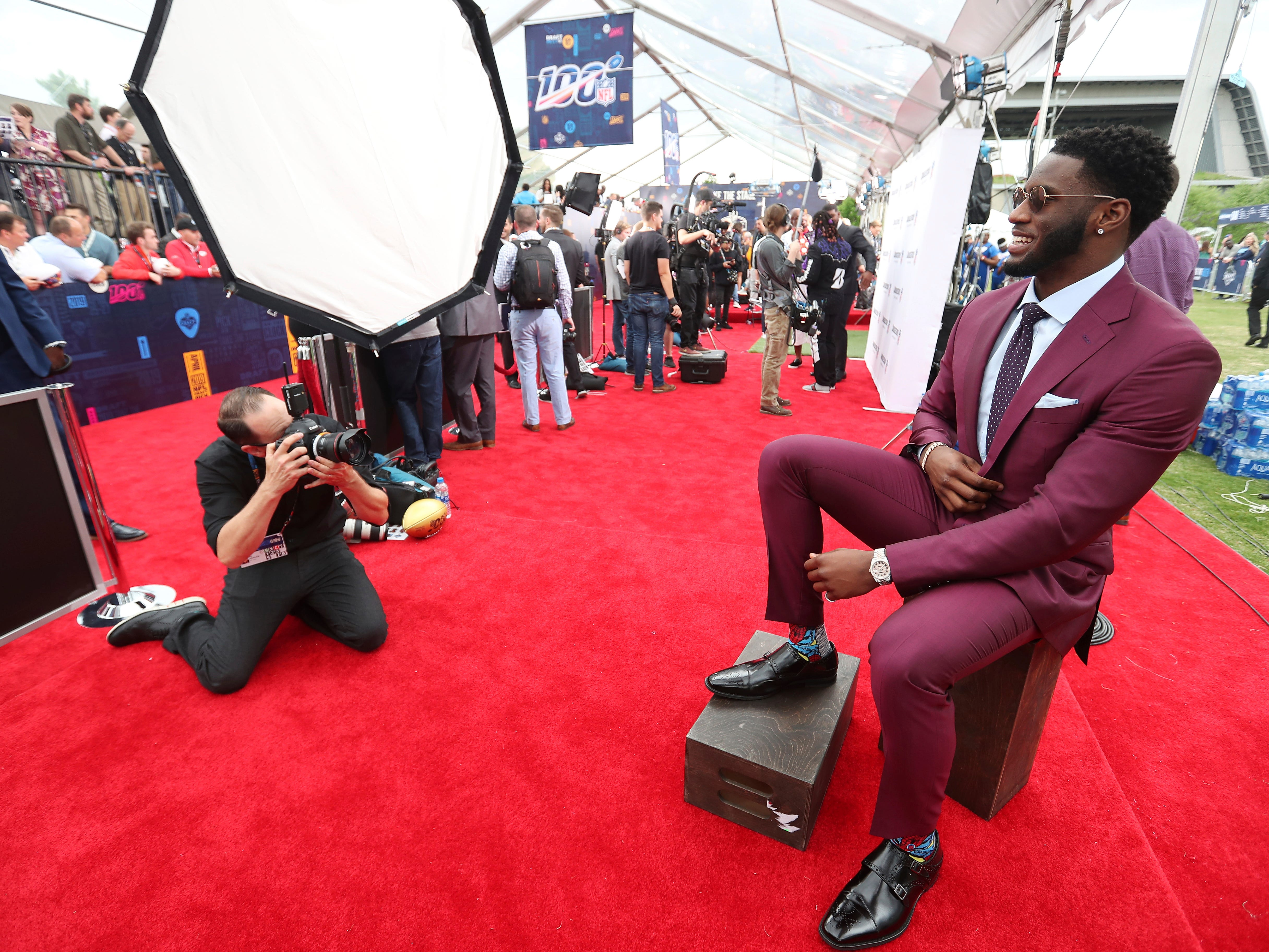 NFL photographer Ben Liebenberg photographs Florida State defensive end Brian Burns on the NFL draft red carpet.