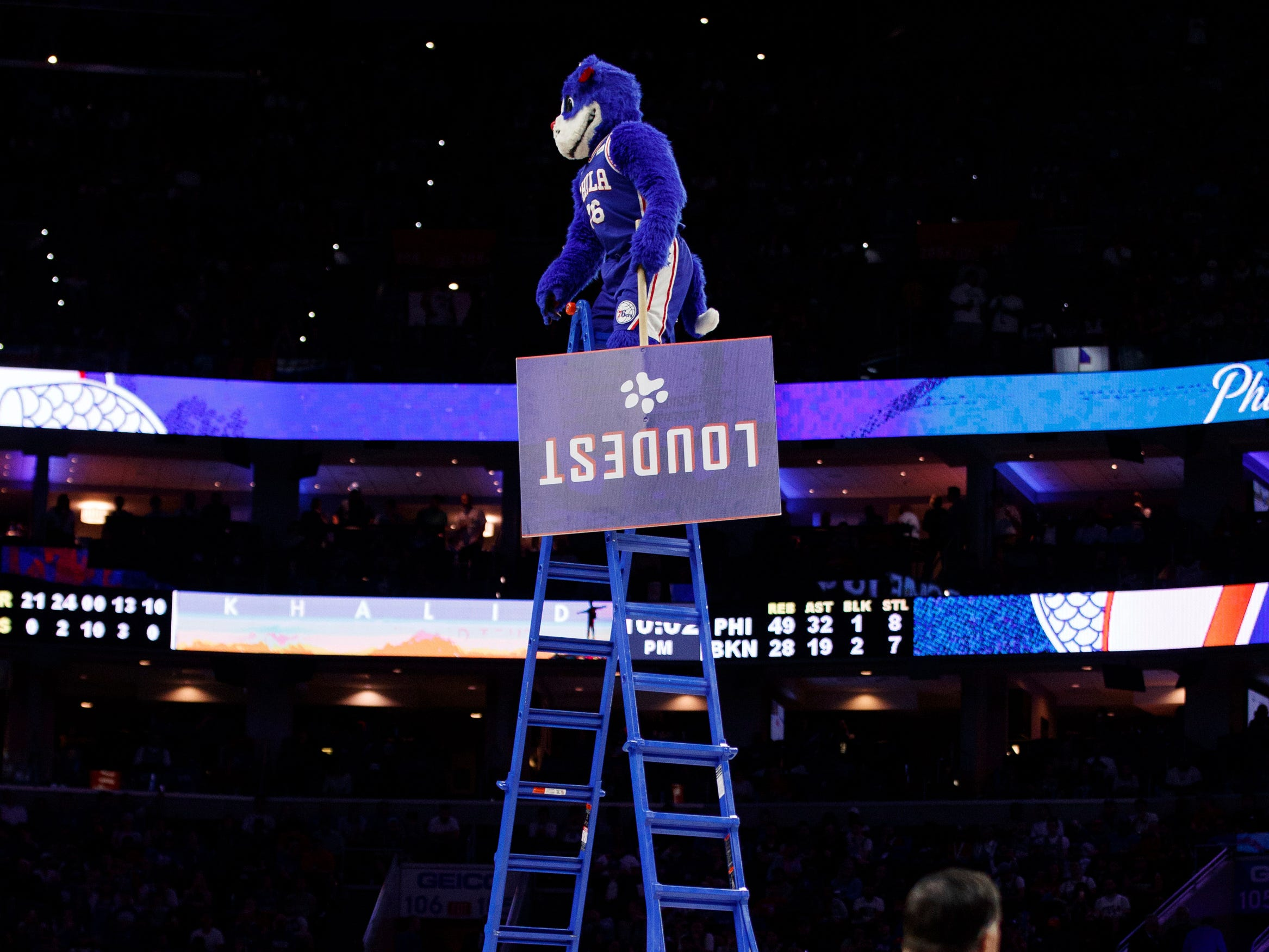 April 23: 76ers mascot Franklin climbs a very tall ladder to get the crowd excited during Game 5.