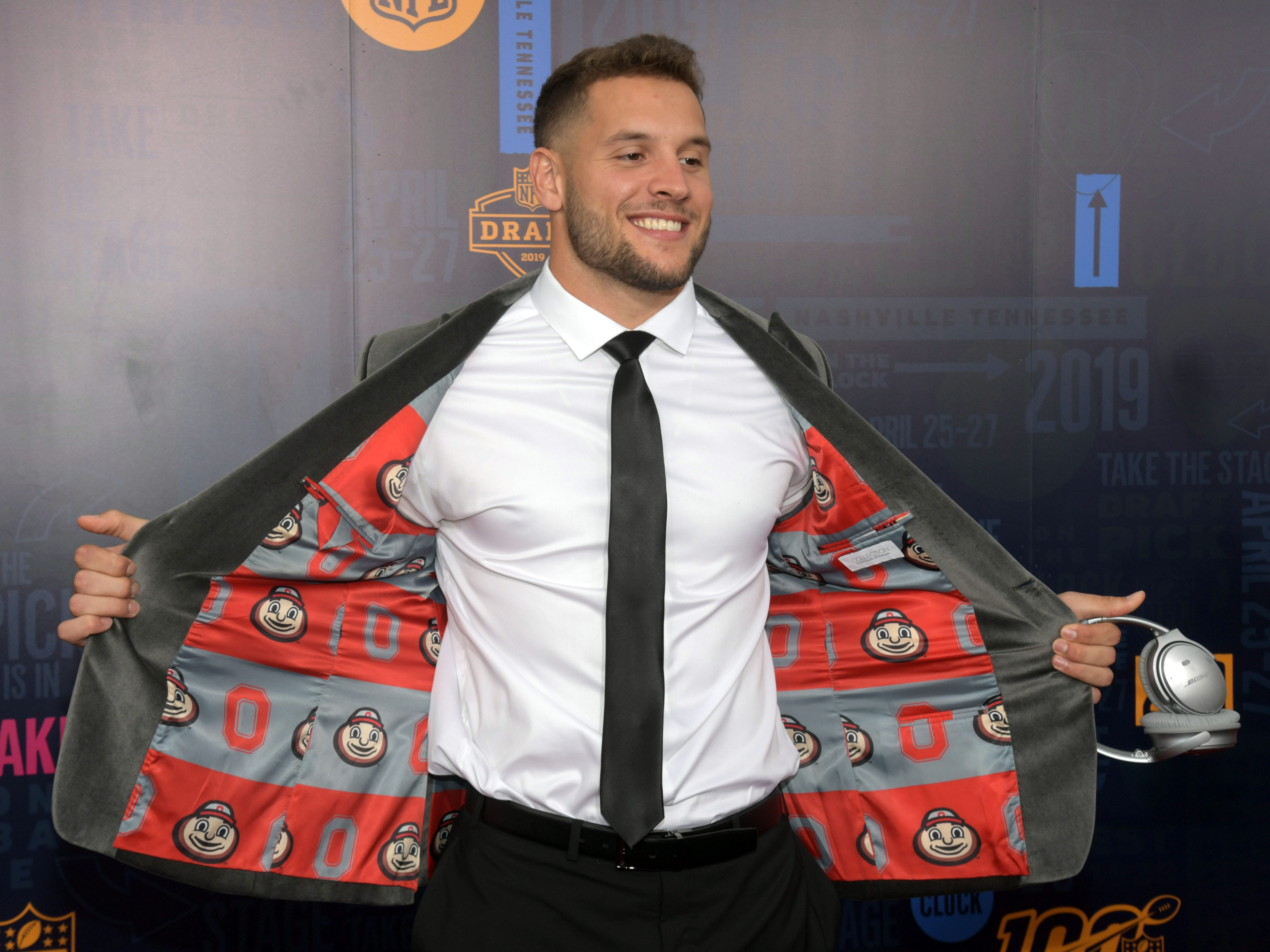 Nick Bosa (of Ohio State) on the red carpet prior to the first round of the 2019 NFL draft.