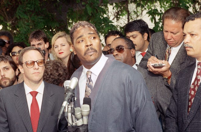 On May 1, 1992, Rodney King pleads for the end of rioting and looting that plagued Los Angeles after the verdicts in the trial of four Los Angeles police officers accused of beating him. It was King's first public appearance since the beating a year earlier.