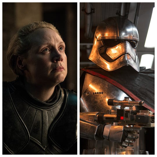 Gwendoline Christie plays Brienne of Tarth, left, in 'Game of Thrones' and Captain Phasma in two 'Star Wars' films.