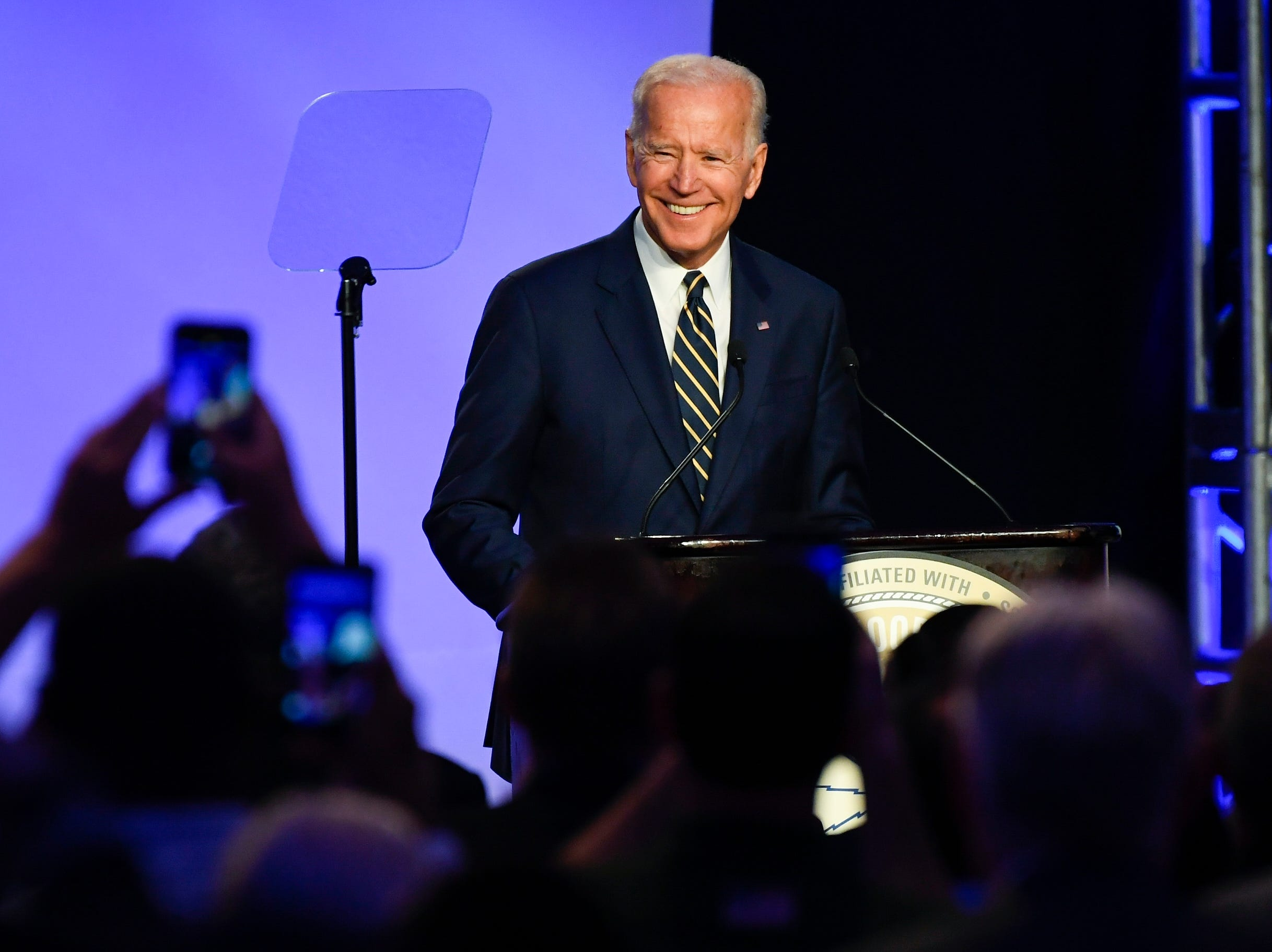 4/5/19 9:37:01 AM -- Washington, DC, U.S.A  -- Former Vice President Joe Biden delivers remarks at the International Brotherhood of Electrical Workers Construction and Maintenance Conference at the Washington Hilton in Washington D.C. --    Photo by Jack Gruber, USA TODAY Staff ORG XMIT:  JG 137932 Joe Biden 4/5/2019 [Via MerlinFTP Drop]