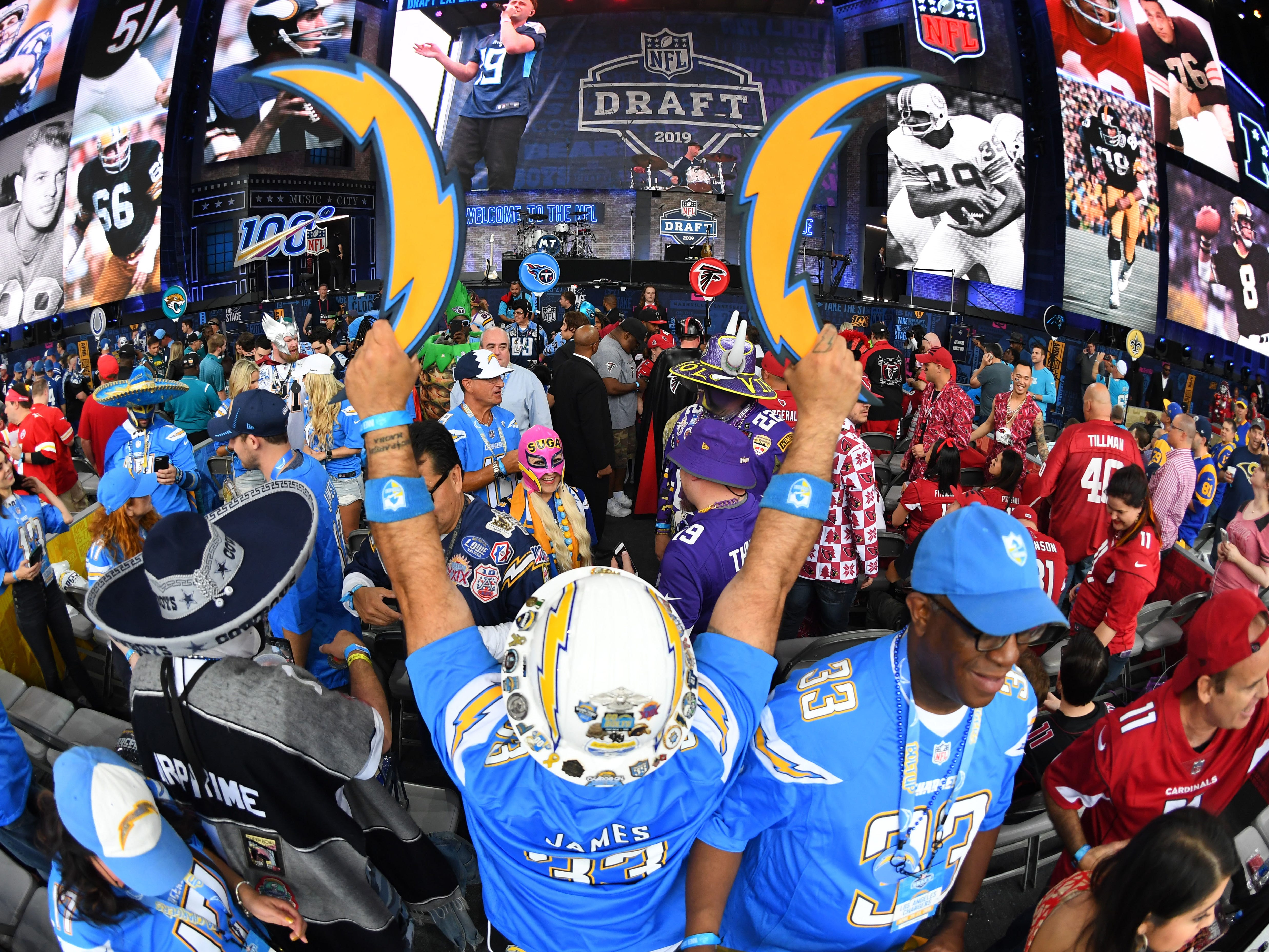 Los Angeles Chargers fans prior to the start of the 2019 NFL draft.