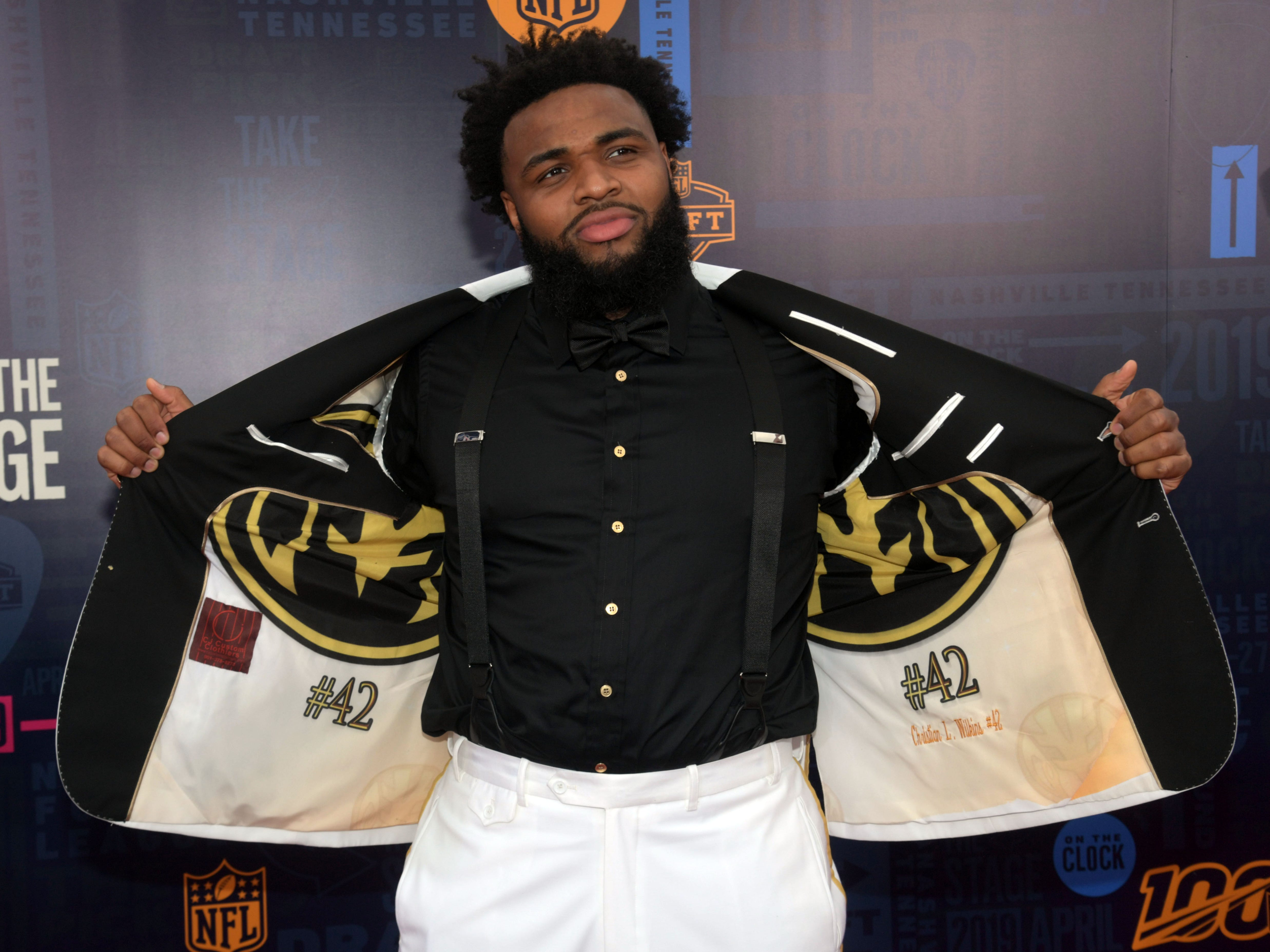 Christian Wilkins (of Clemson) on the red carpet prior to the first round of the 2019 NFL draft.
