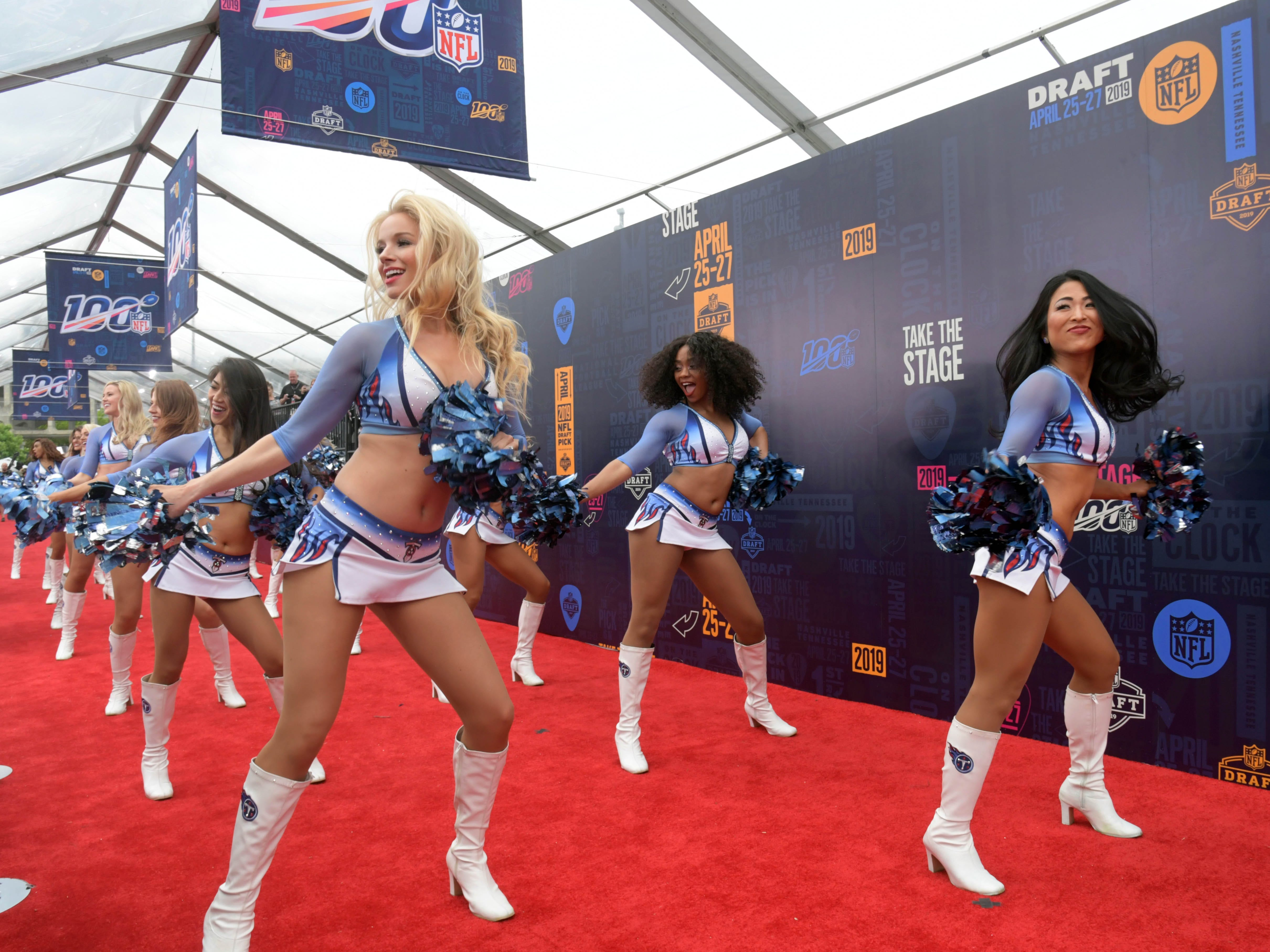 The Tennessee Titans cheerleaders on the red carpet prior to the first round of the 2019 NFL draft.
