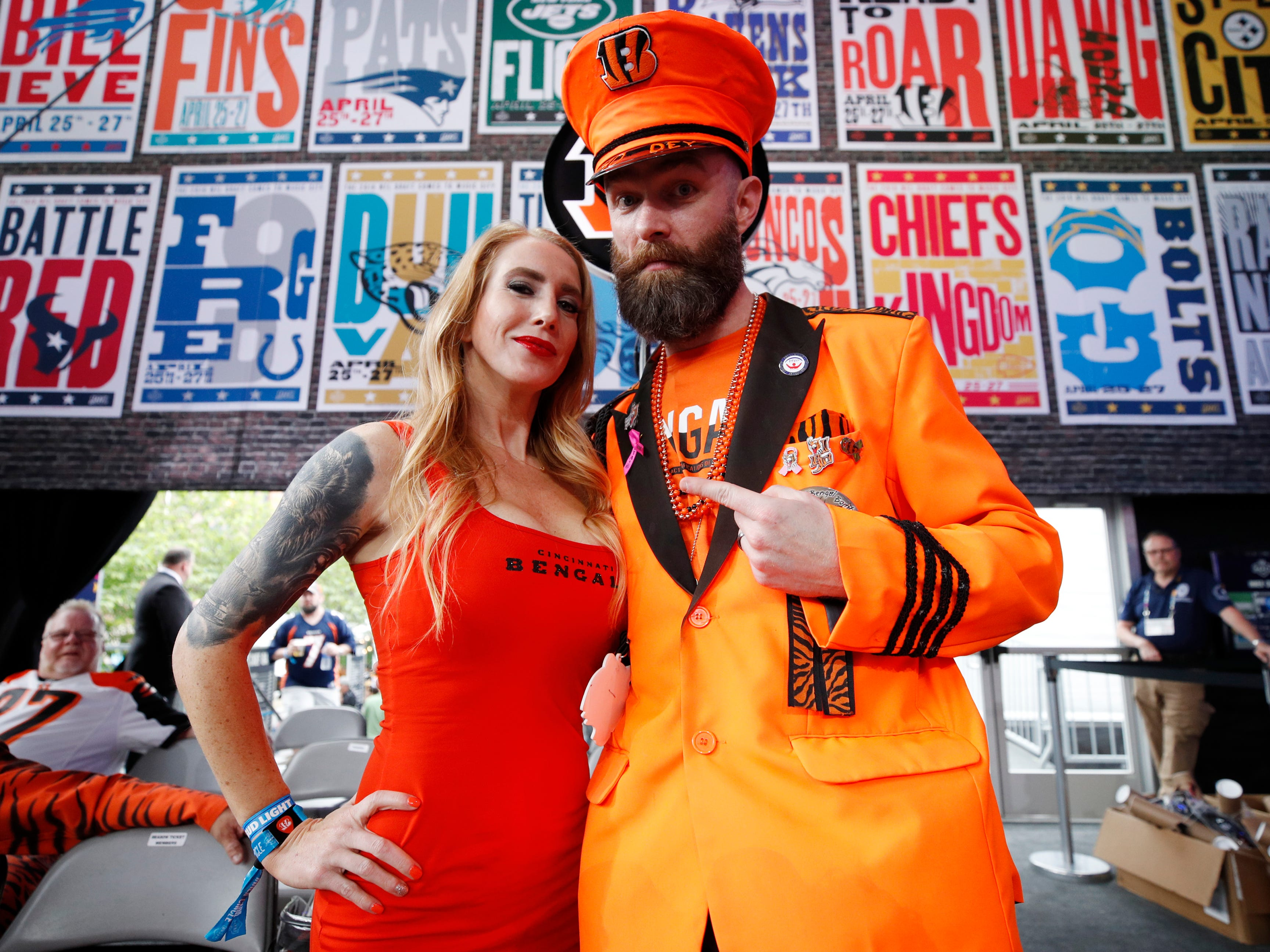 A pair of Cincinnati Bengals fans look on prior to the start of the first round of the NFL draft.