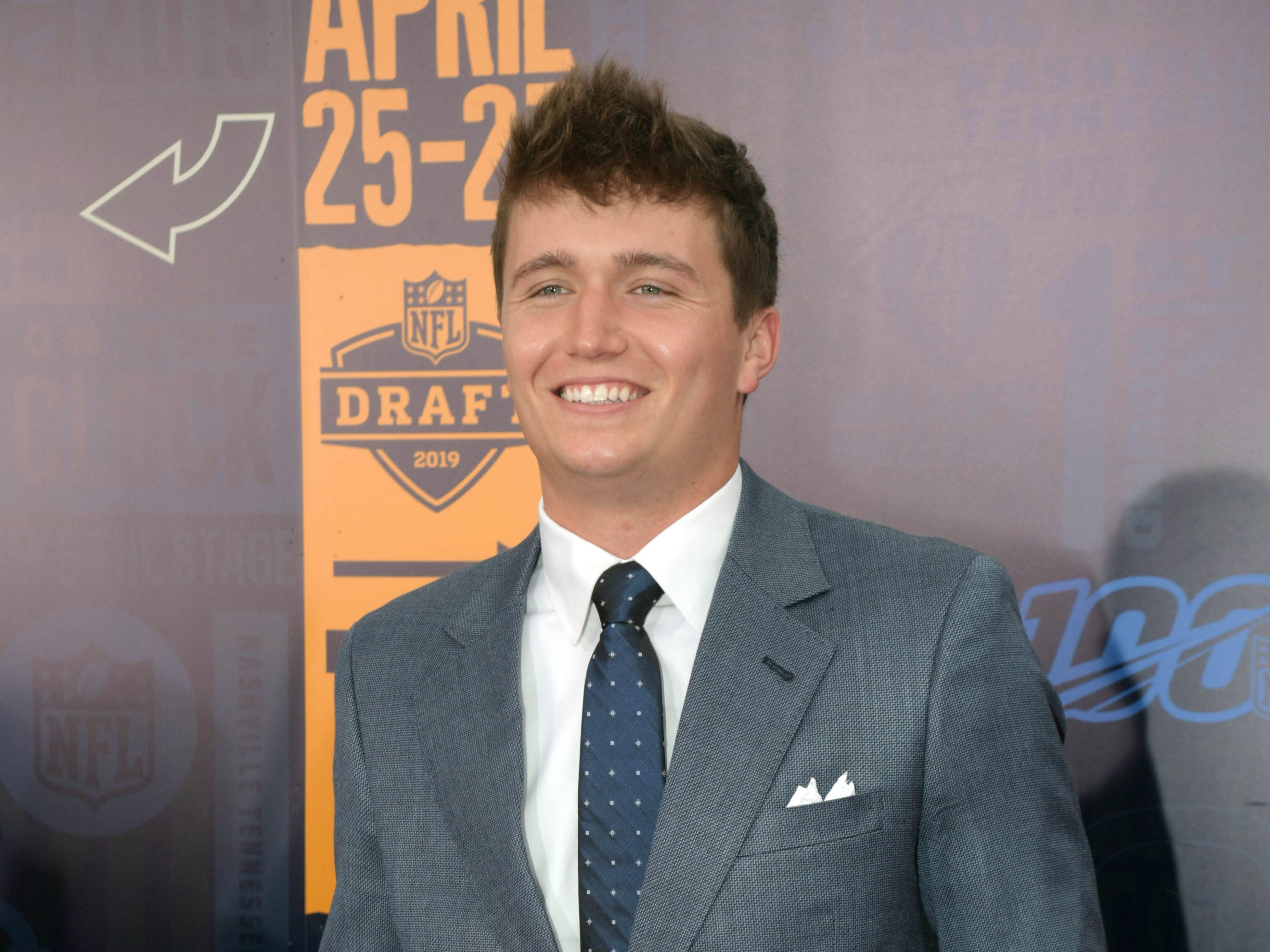 Drew Lock (of Missouri) on the red carpet prior to the first round of the 2019 NFL draft in downtown Nashville.