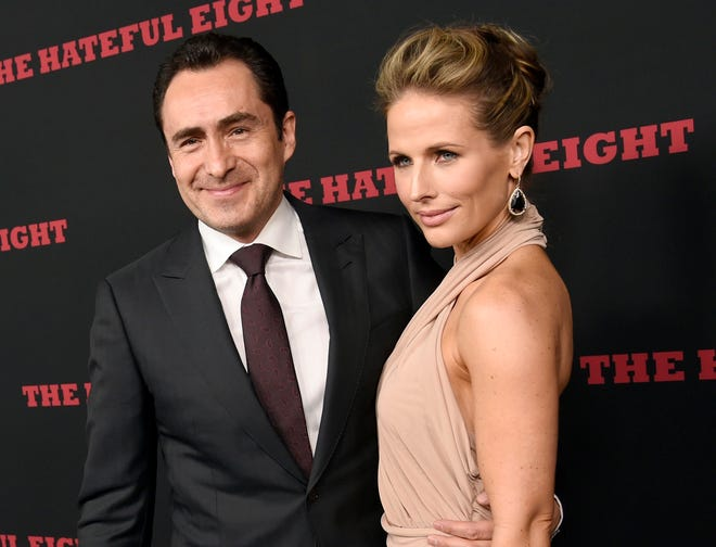 """The Hateful Eight"" star Demian Bichir and his wife Stefanie Shirk at the premiere of the film in Los Angeles on Dec. 7, 2015."